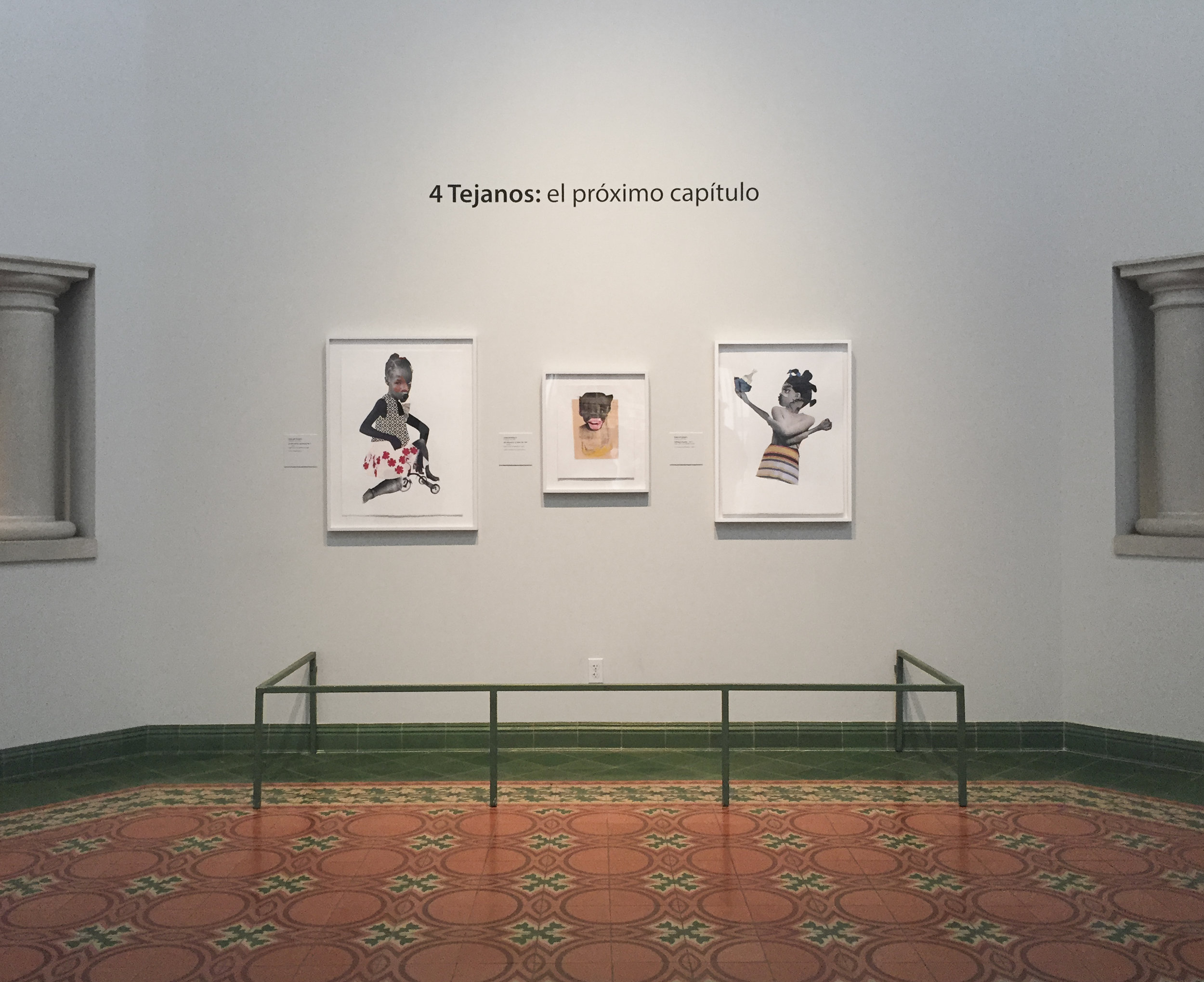 An installation of works by Deborah Roberts at the McNay Museum.