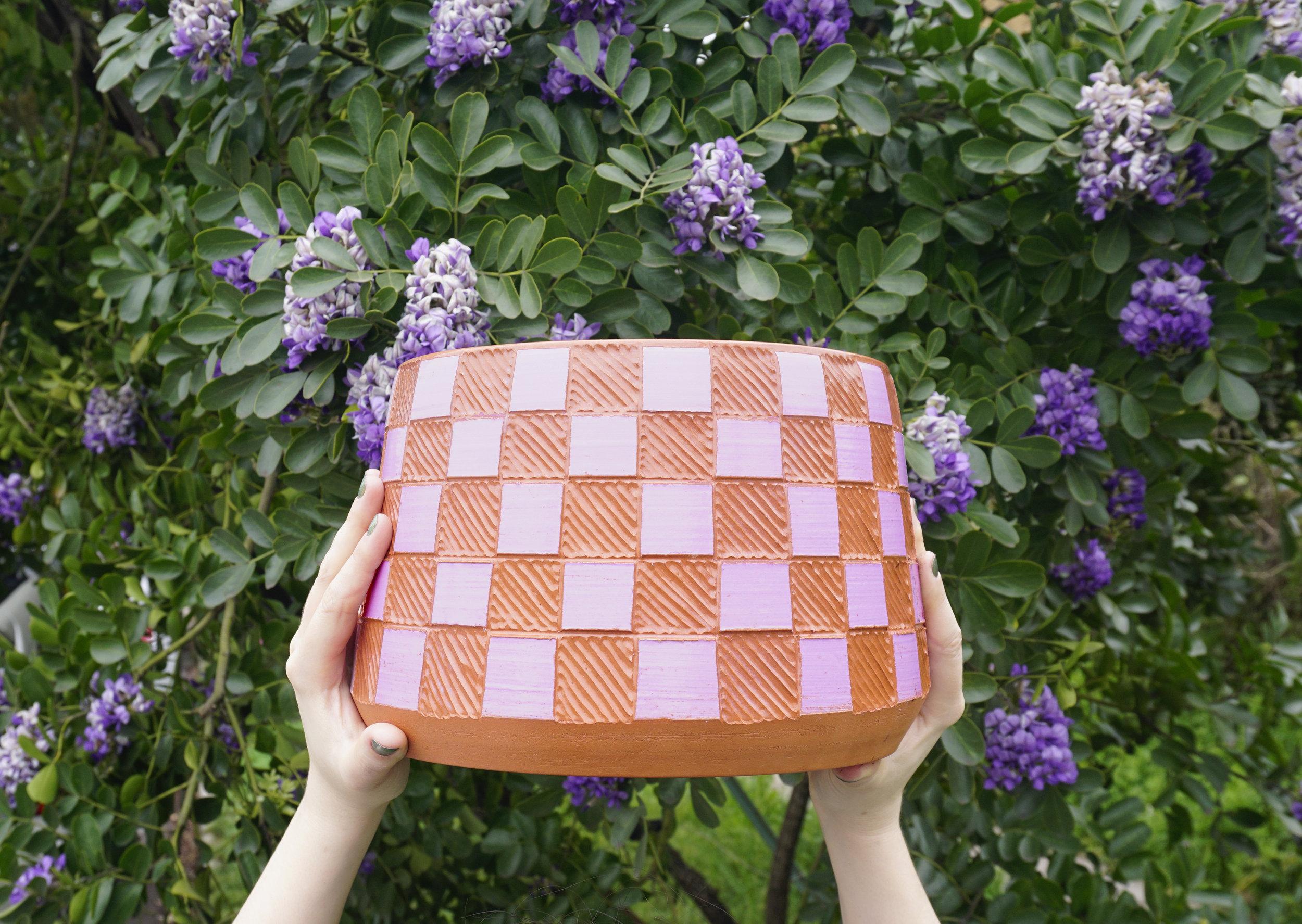 GABO MARTINEZ .  Checkered Planter , 2019. Terracotta, slip, sgraffito. 6.75 x 9 x 9 inches.