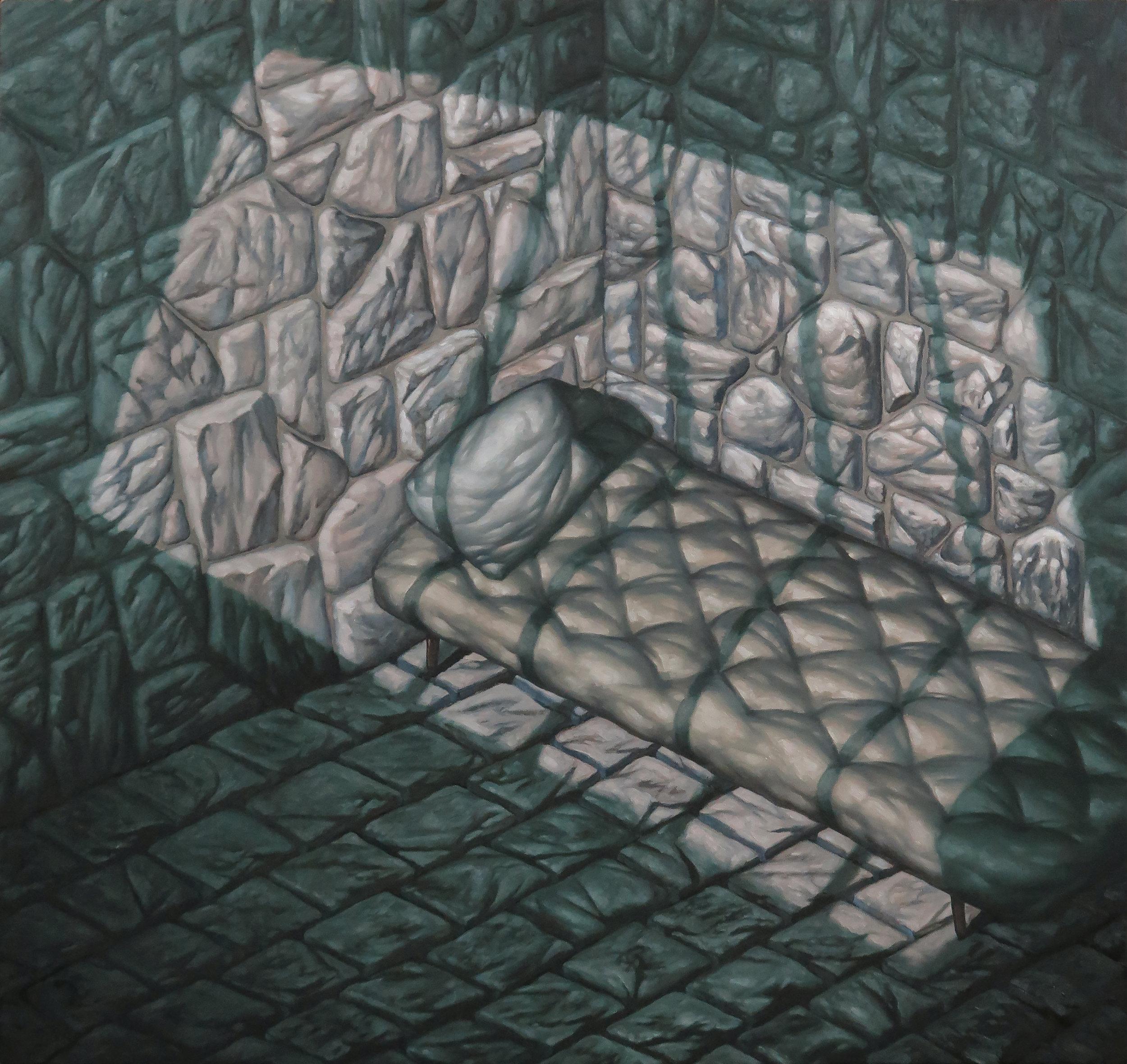 """Seth Alverson .  Dungeon 4 , 2018. Oil on canvas. 34"""" x 36""""."""