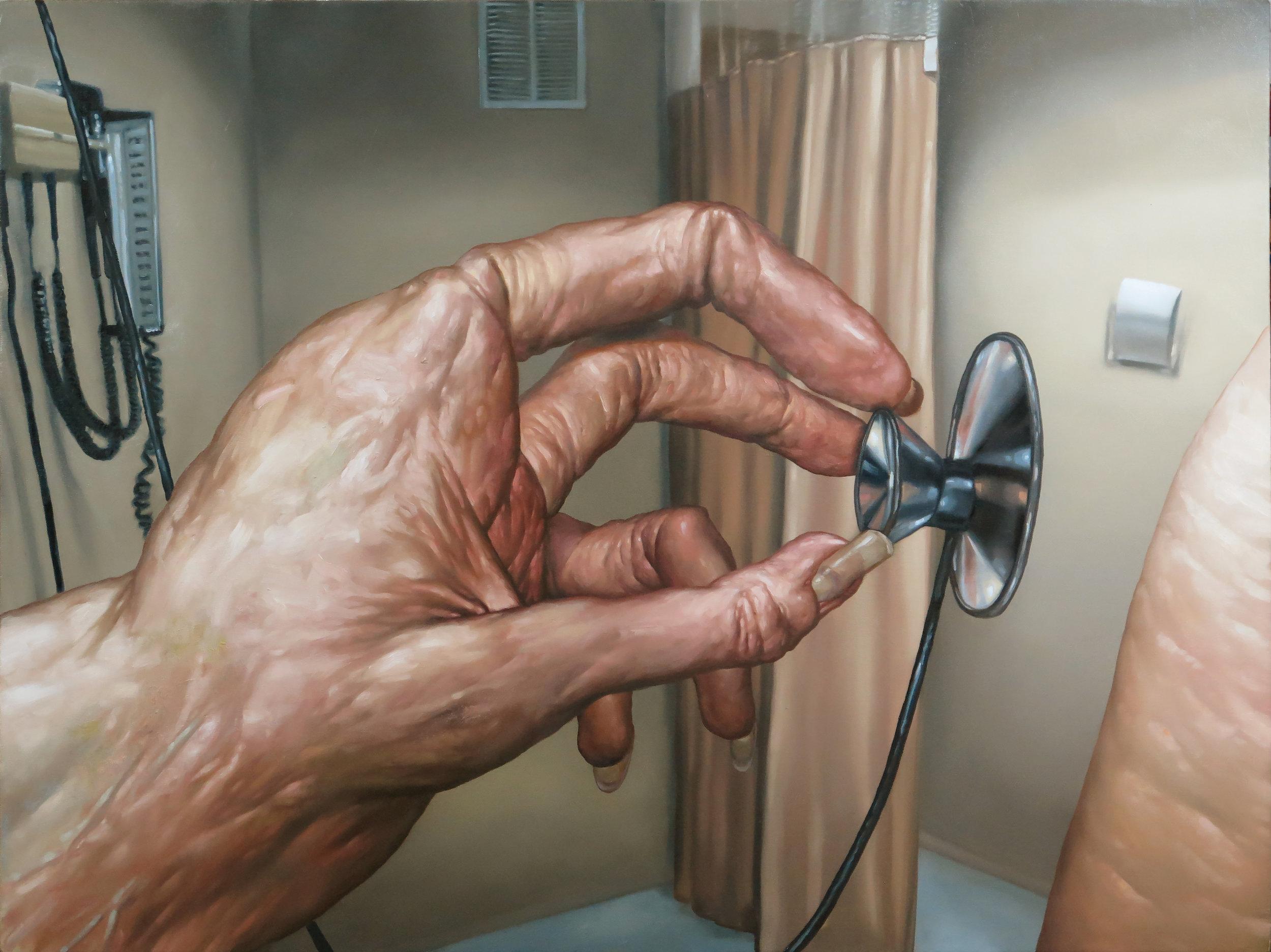 "Seth Alverson .  Doctor's Hand , 2018. Oil on canvas. 30"" x 40""."