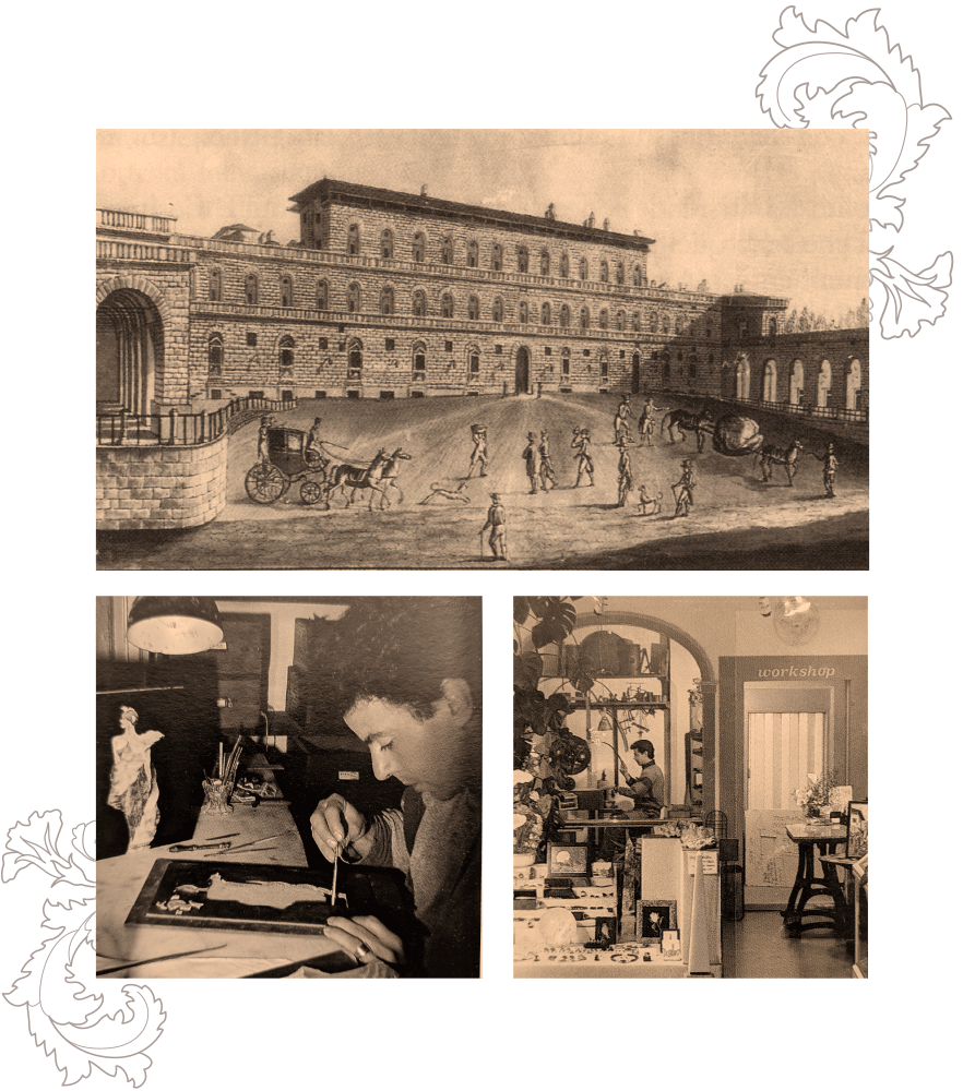 Top: Pitti Square, Florence, 1800s. Left: Ilio De Filippis working on a Pietra Dura Inlay, 1982. Right: The first Pitti Mosaici workshop, 1982-1995.
