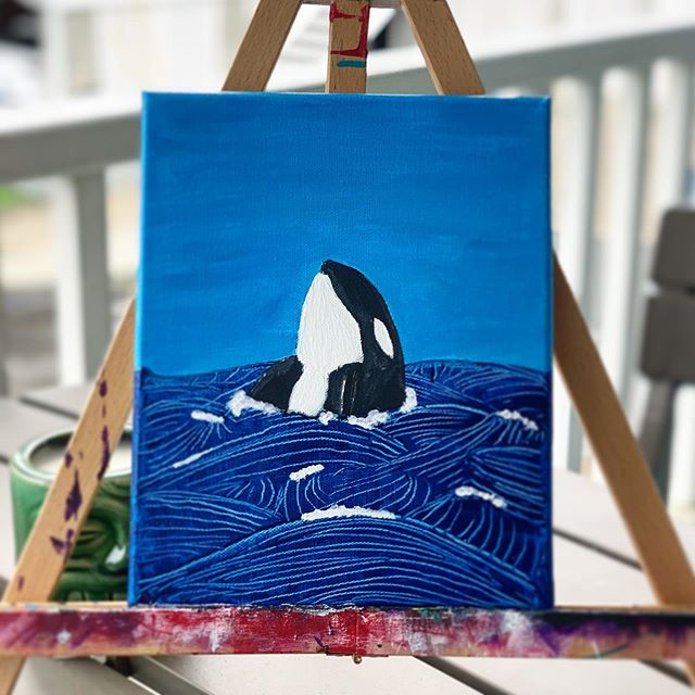 """On this rainy day i decided to try something new, i used a palate knife to make the waves. Basically used the knife to scrape / shape the waves """"Orca"""" 