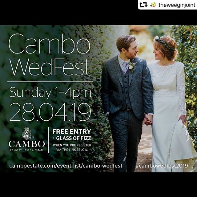 Looking forward to being back at @camboestate this weekend! And with my pals @theweeginjoint too 😋 Last years #cambowedfest2018 was so much fun. Please say hello if you are there!  #repost @theweeginjoint ・・・ Excited to meet lots of lovely couples at Cambo WedFest later this month! Free entry and a glass of fizz if you register beforehand! Sunday 28th April, 1-4pm and there will of course be gin 😉🍸🎉@camboestate