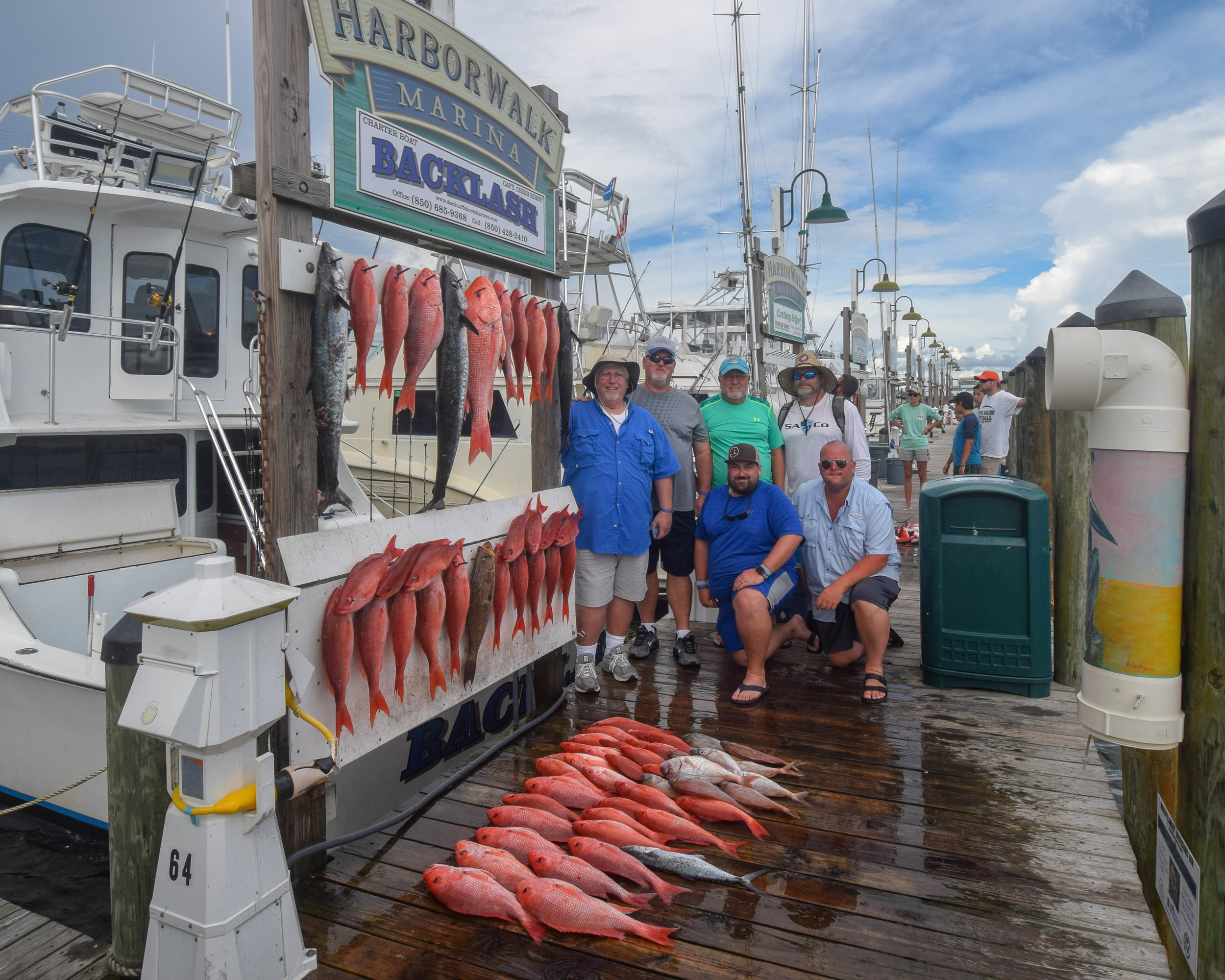 2018 Joint Summer Meeting - What a great meeting in Sandestin!!!We had a great crowd increase over last year with over 50 at Dinner Friday night!Some of us had a great time on a Fishing Trip on board the BACKLASH with Captain Chris Kirby.We caught the limit on Red Snapper and Mingo Snapper and then we ate fresh fish for Dinner and still took home enough for large fish fry!!!The fishermen were (left - right)Bubba Lammons, David Roberts, Bob Barnes, Jeff Duncan, Kevin Lammons, and Britt Barnes.