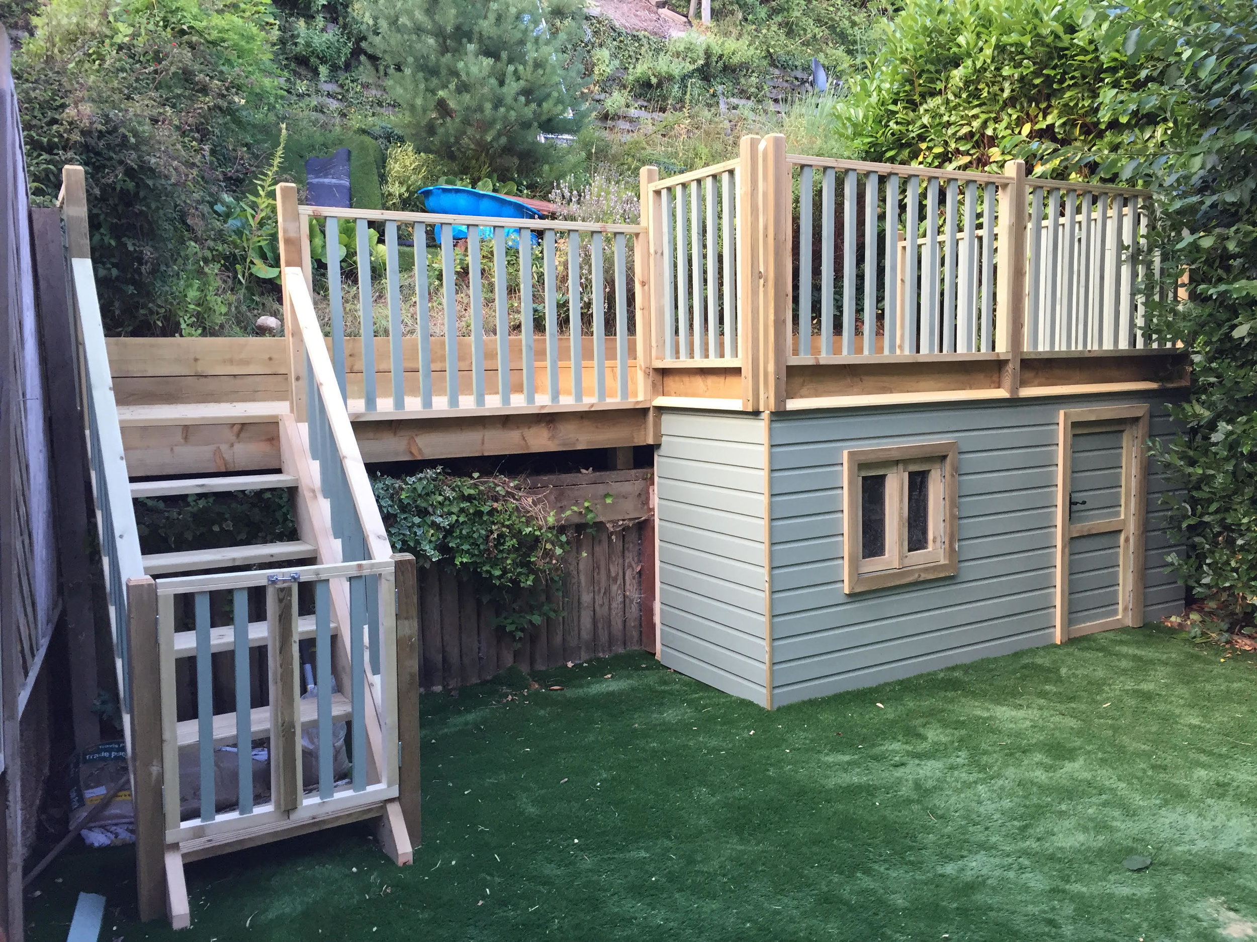 """Nailsworth Raised Decking & Playhouse - """"Rich did an amazing job of removing an old raised decking area and steps and created a whole new space with a den underneath for our kids. Throughout the whole process Rich suggested ways to make it better by using his creative thinking and keeping it within budget. It has ended up to be so much better than we had hoped and all within our budget. Super happy and can't recommend Rich highly enough.""""Mr knight - Nailsworth"""