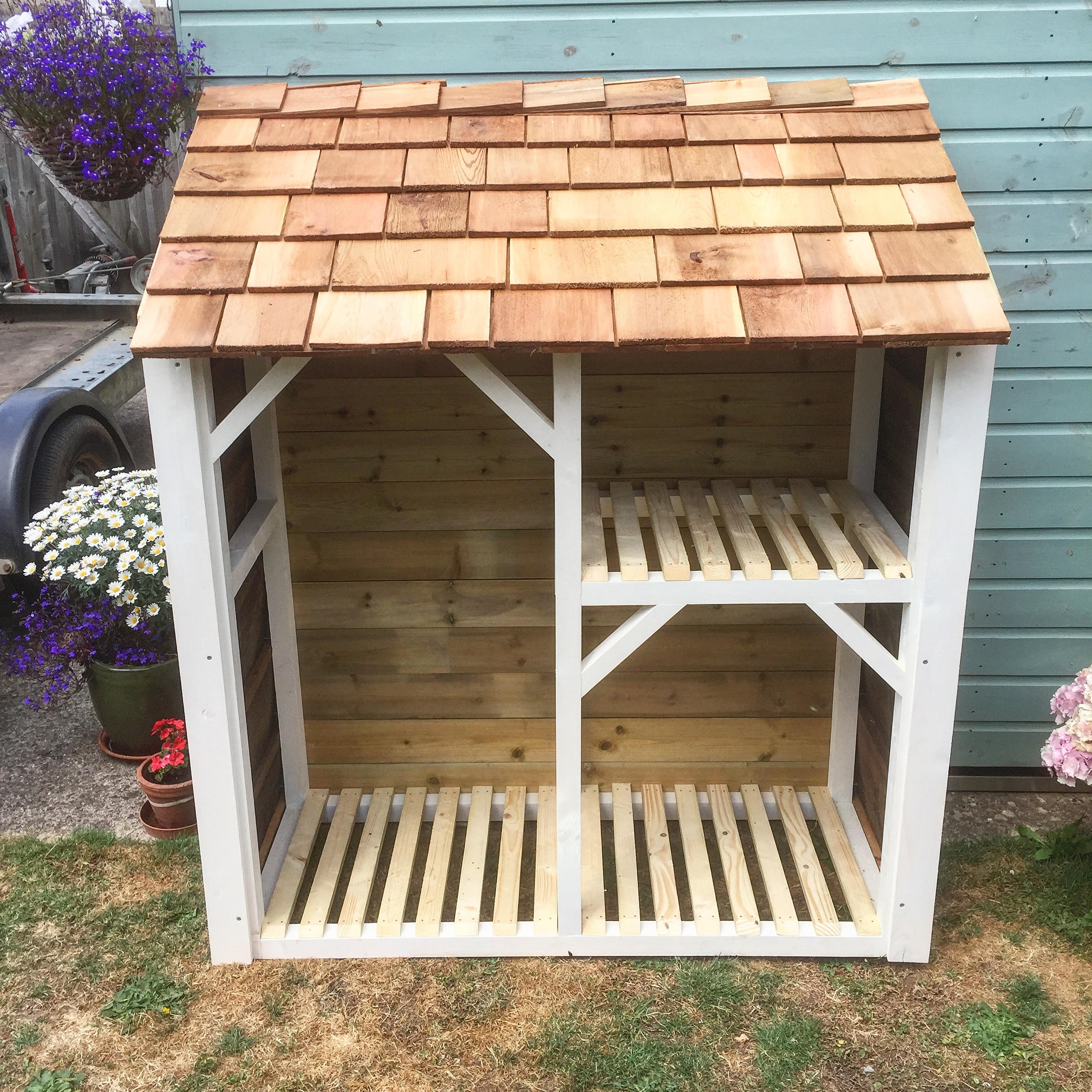 """Firewood Logstore - """"Loving my new wood store. Beautifully built, and looks great too. thanks Rich""""Mrs Ayres - Kings Stanley"""