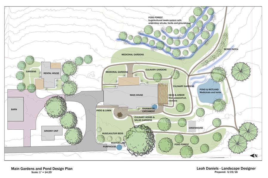 A permaculture homestead garden concept design. Sebastopol, 2016