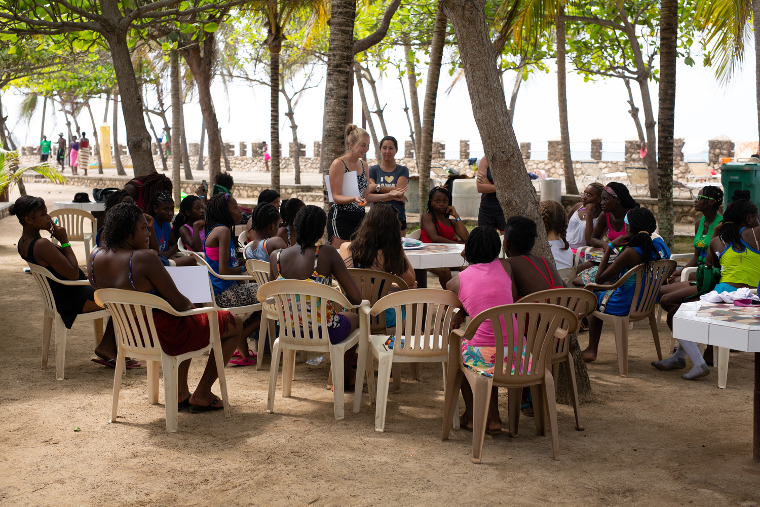 Small group discussion time at the beach.