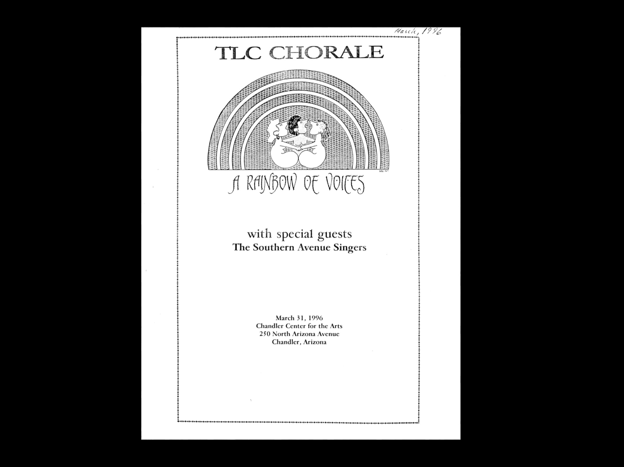 TLC's Concert Program from March 1996: A Rainbow of Voices.