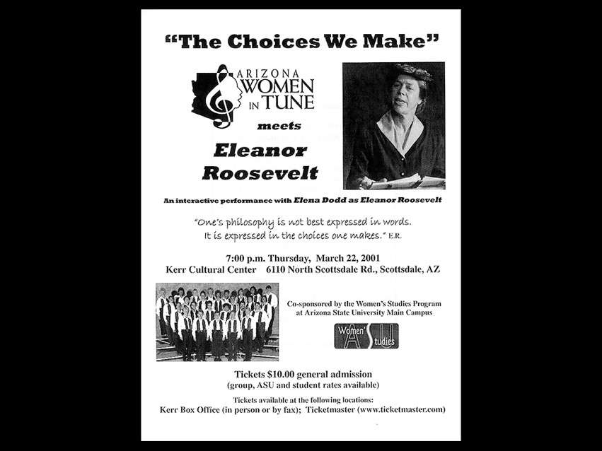 We perform at the Kerr Cultural Center for a performance with Elena Dodd as Eleanor Roosevelt.