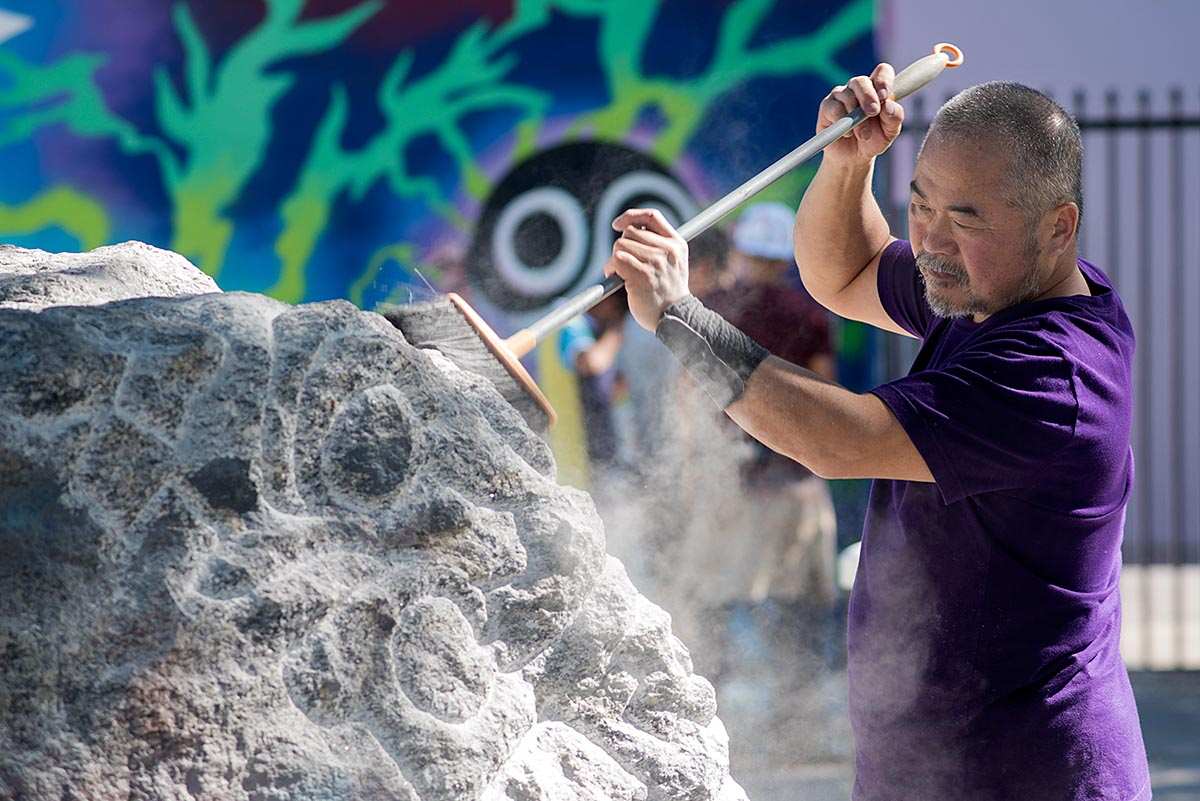 KEN HIRATSUKA AT WORK INSIDE THE WYNWOOD WALLS