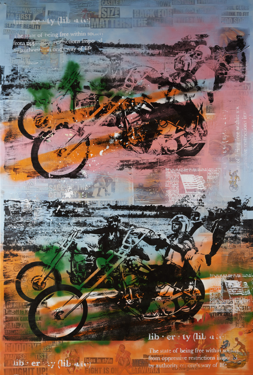PETER TUNNEY  b.1961   EASY RIDER    Unique hand-pulled silkscreen, collage of mixed media and aerosol on canvas, signed lower right by the artist in acrylic paint  85 x 57.5 in. $40,000