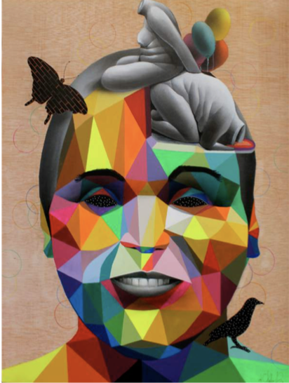 OKUDA  Smiles and Tears , 2013  Synthetic enamel on wood panel in black frame. Signed and dated on the bottom right  40 x 32 in