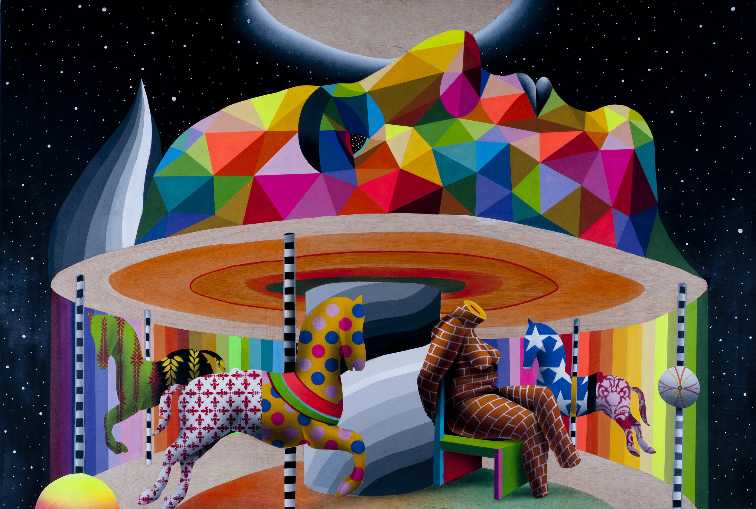 OKUDA  My Brain's Carrousel , 2016  Synthetic enamel on wood. Signed and dated on the left  48 x 72 in