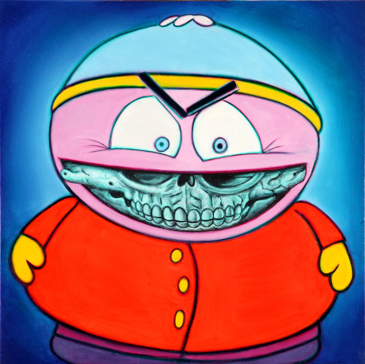 RON ENGLISH  Cartman Grin , 2016  Oil on canvas. Signed lower right  16 x 16 in.