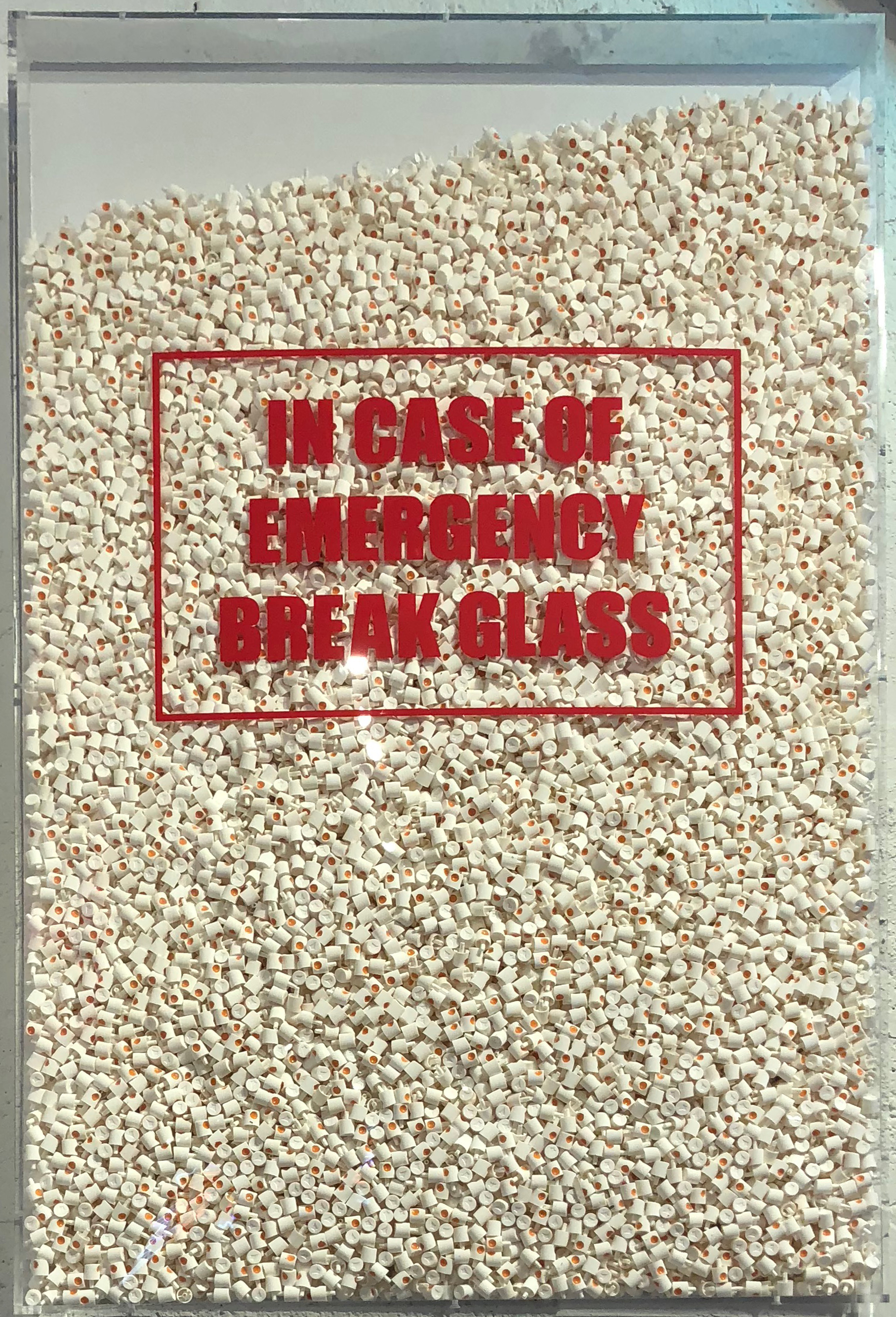 RISK  In Case of Emergency Break Glass , 2017  Spray caps contained in plexi  36 x 24 in.