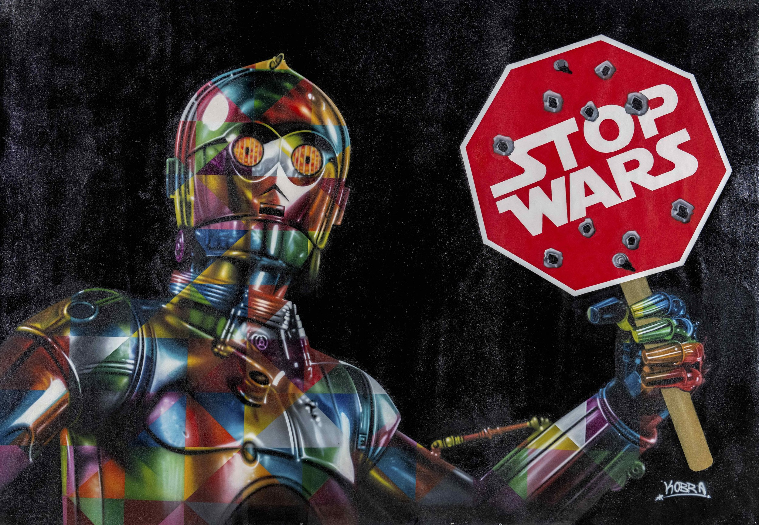 KOBRA  STOP WARS  Mixed media on canvas  104 x 69 inches