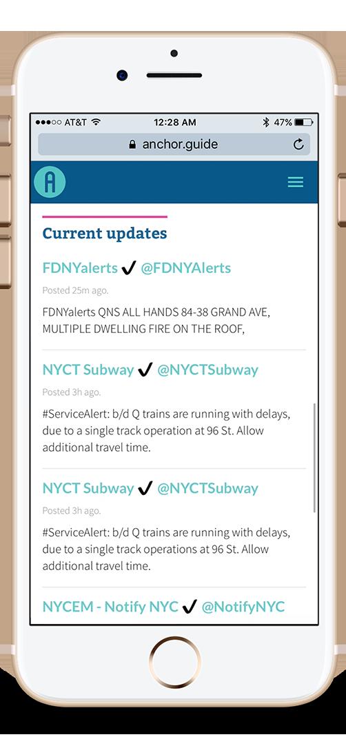 Homepage: Updates by city agencies.