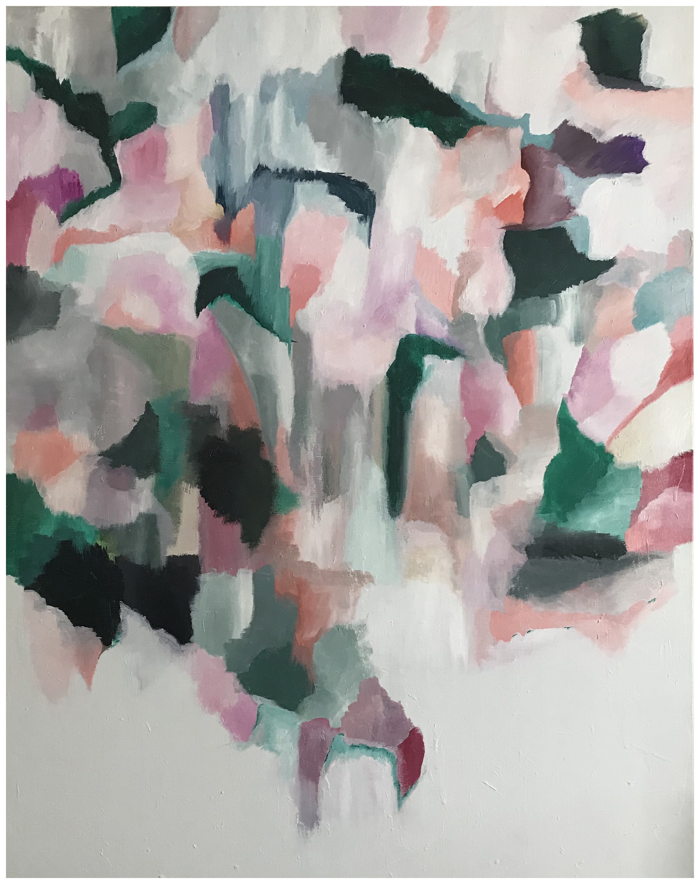 Petals In Green  $900   36x48 Acrylic on Canvas