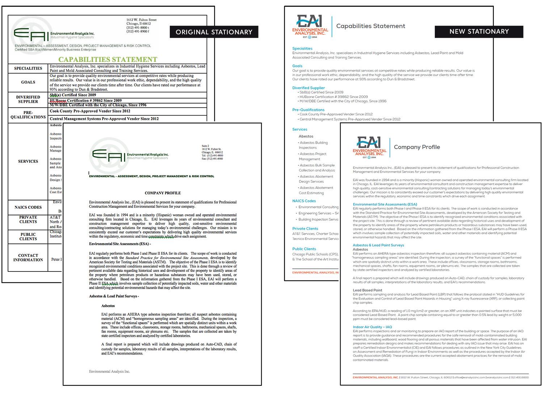 Environmental Analysis Inc Brand Identity System