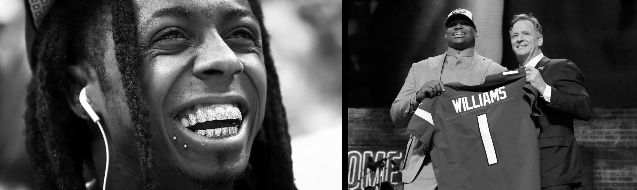 Photo: Lil Wayne,  Quinnen Williams & Roger Goodell