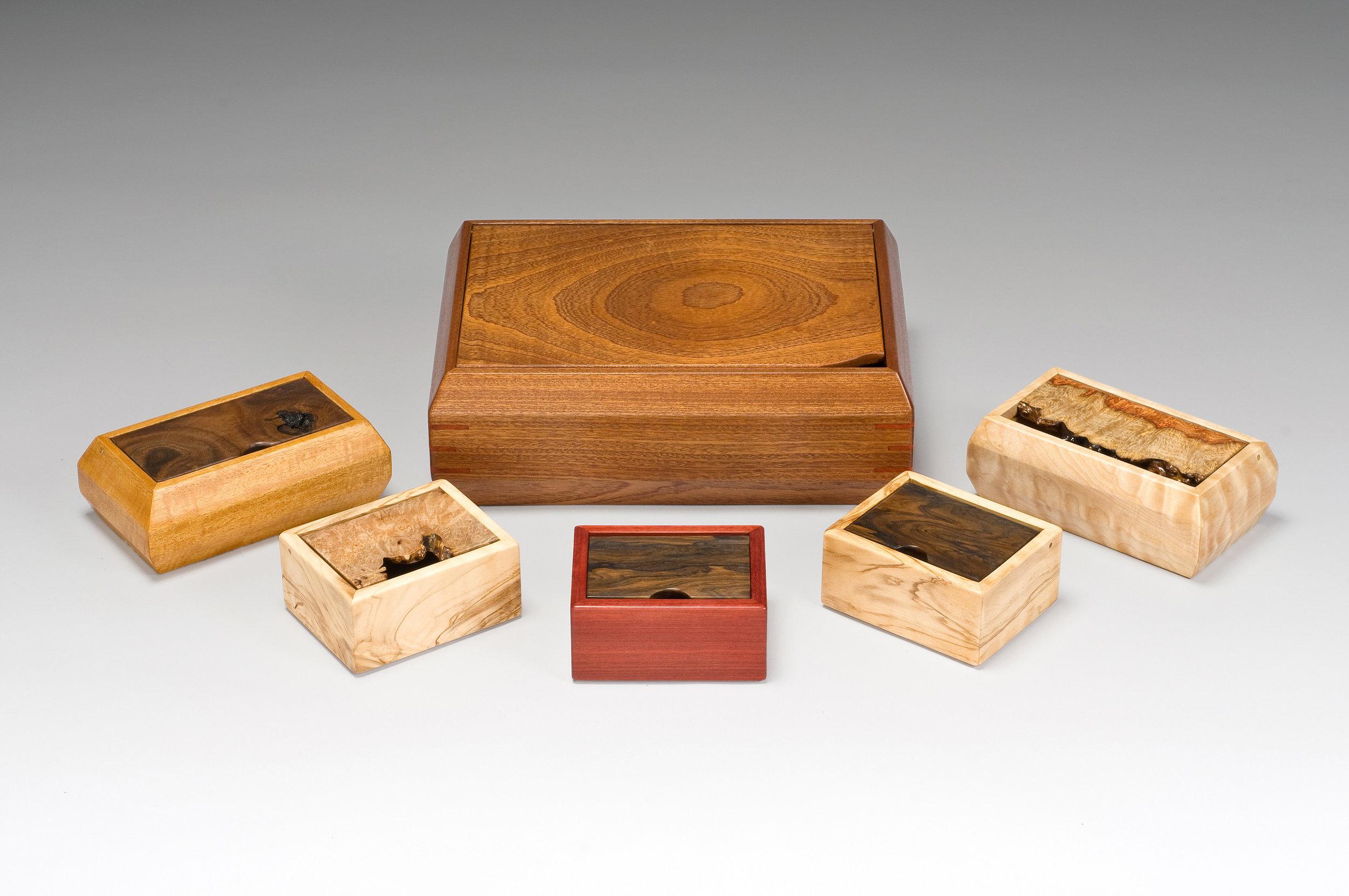 VARIOUS HARDWOOD BOXES