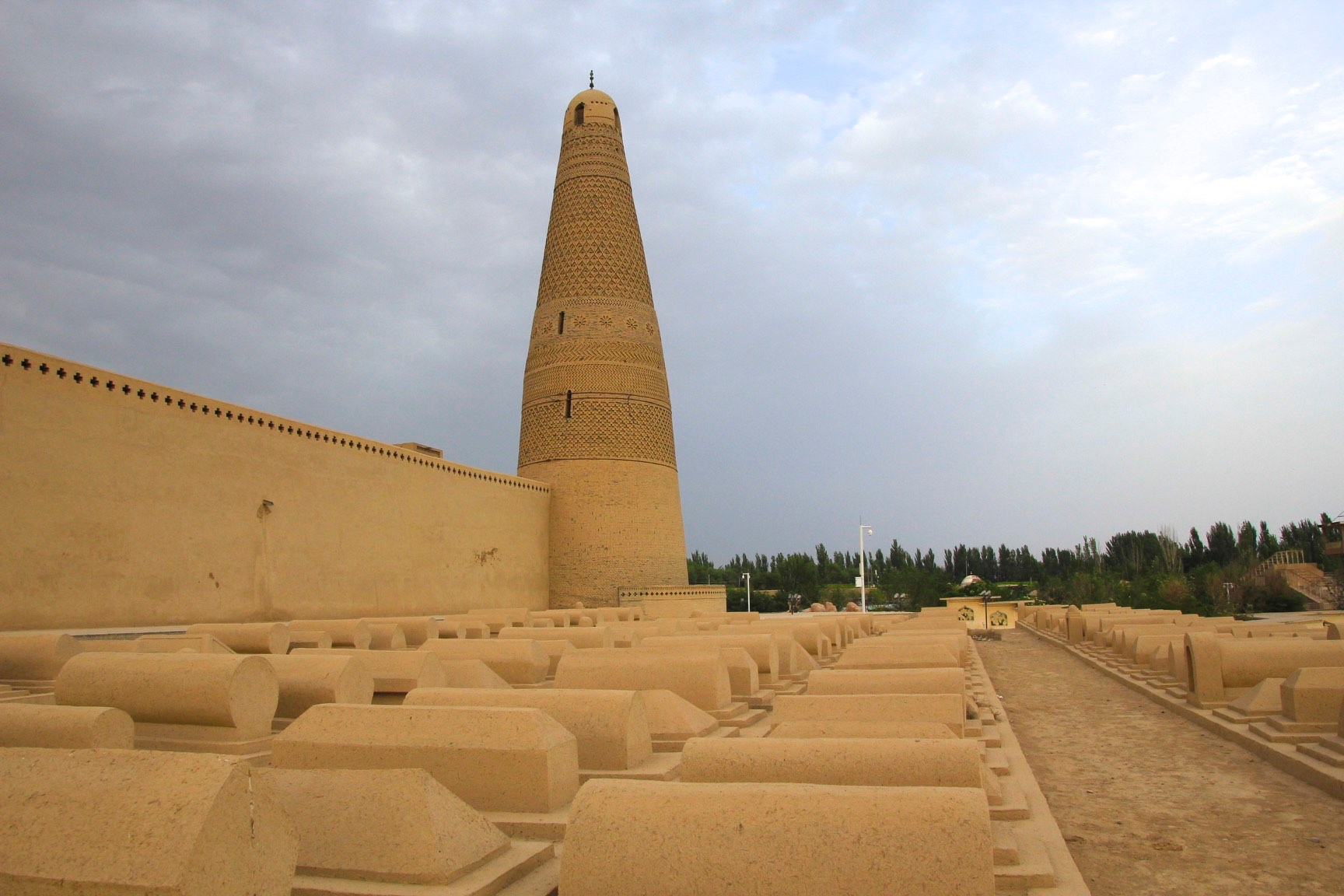 The Emin Minaret or Emin Tower stands by the Uyghur mosque located in Turpan, Xingjiang, China. At 44 meters (144 ft) it is the tallest miaret in China