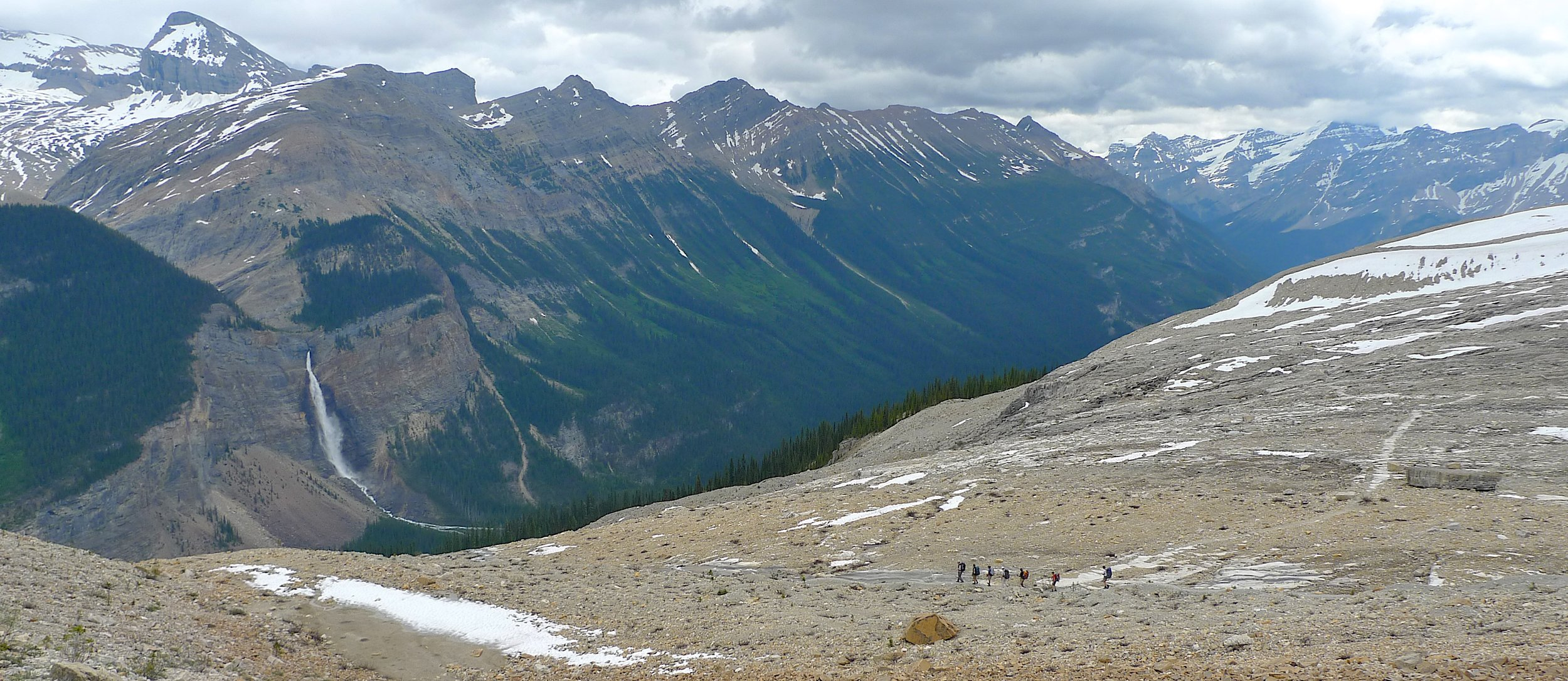 The Iceline trail in the Yoho National Park. Takawa Falls is in the valley below.
