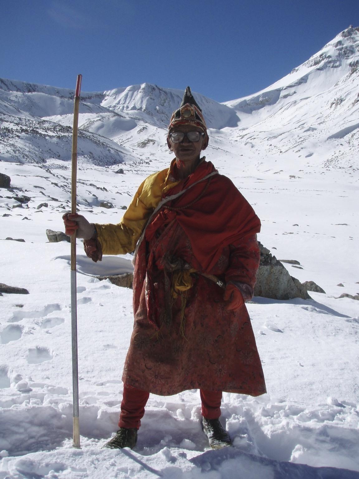 A Tibetan monk/pilgrim approaching the Dolma La Pass at 5,648m