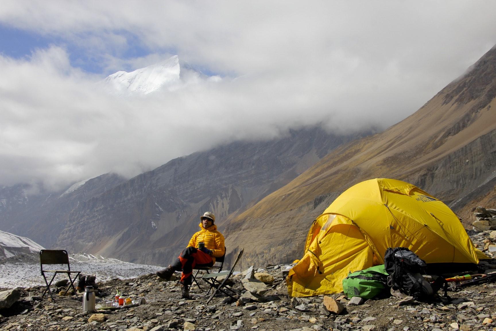 Dhaulagiri BC proper. The summit in the clouds is Dhaulagiri II.