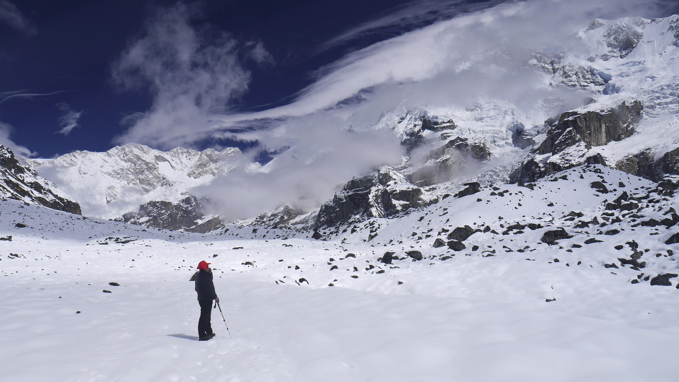 Sangey and I exploring the upper Yalung Glacier