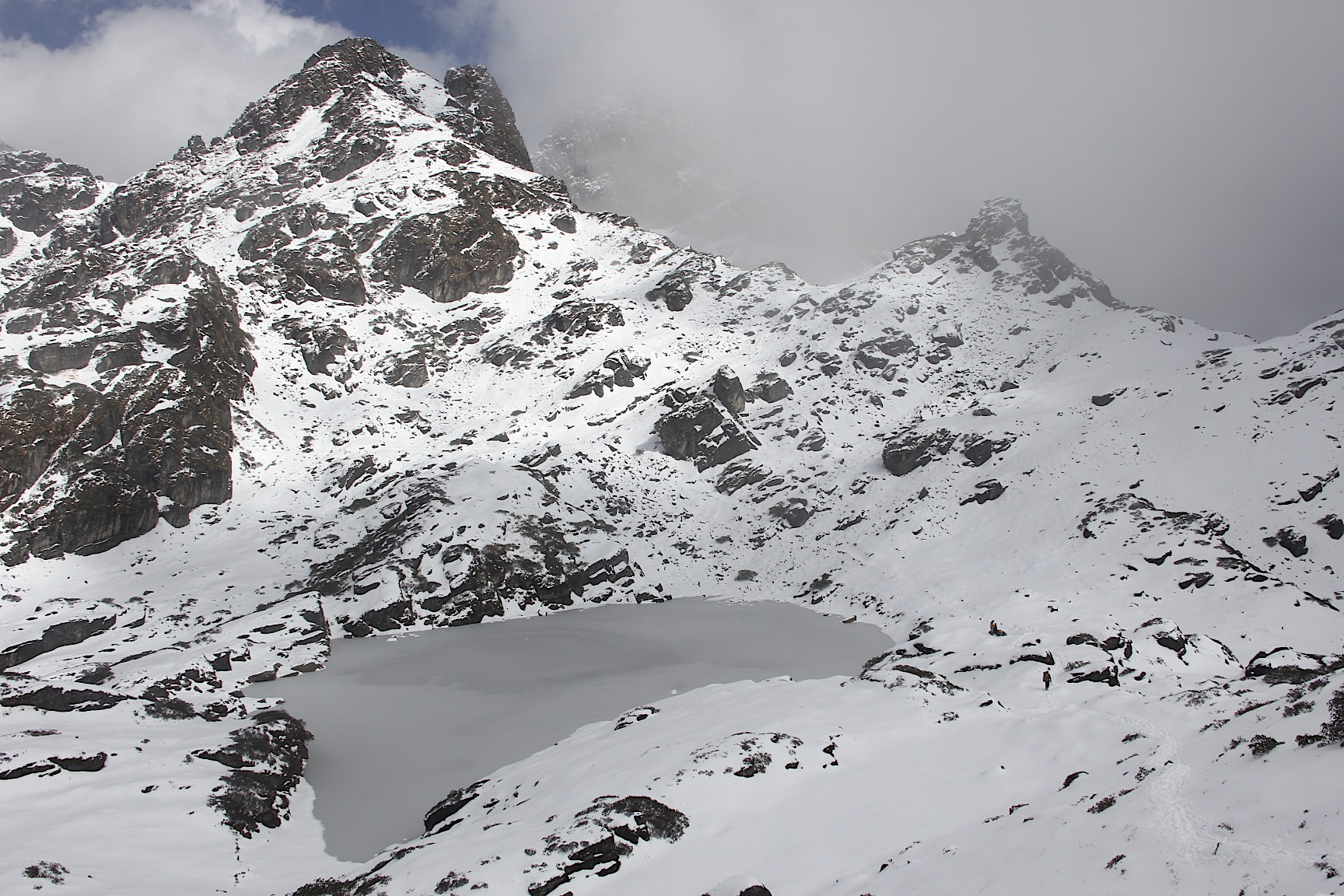 High pass (over 4,000m) in very cold wind and snow just before the Barun River Valley