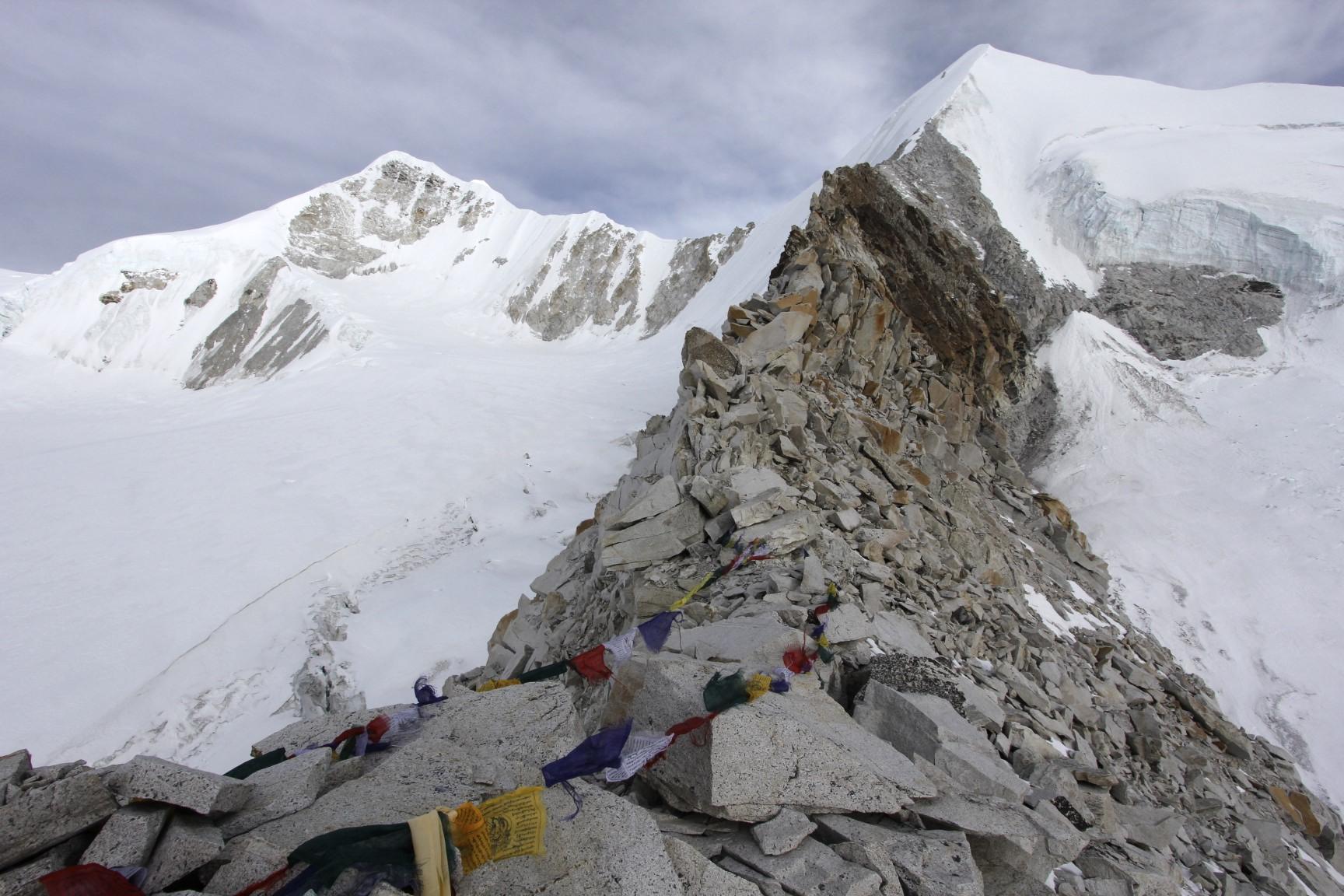 The narrow Sherpani Col and Baruntse.