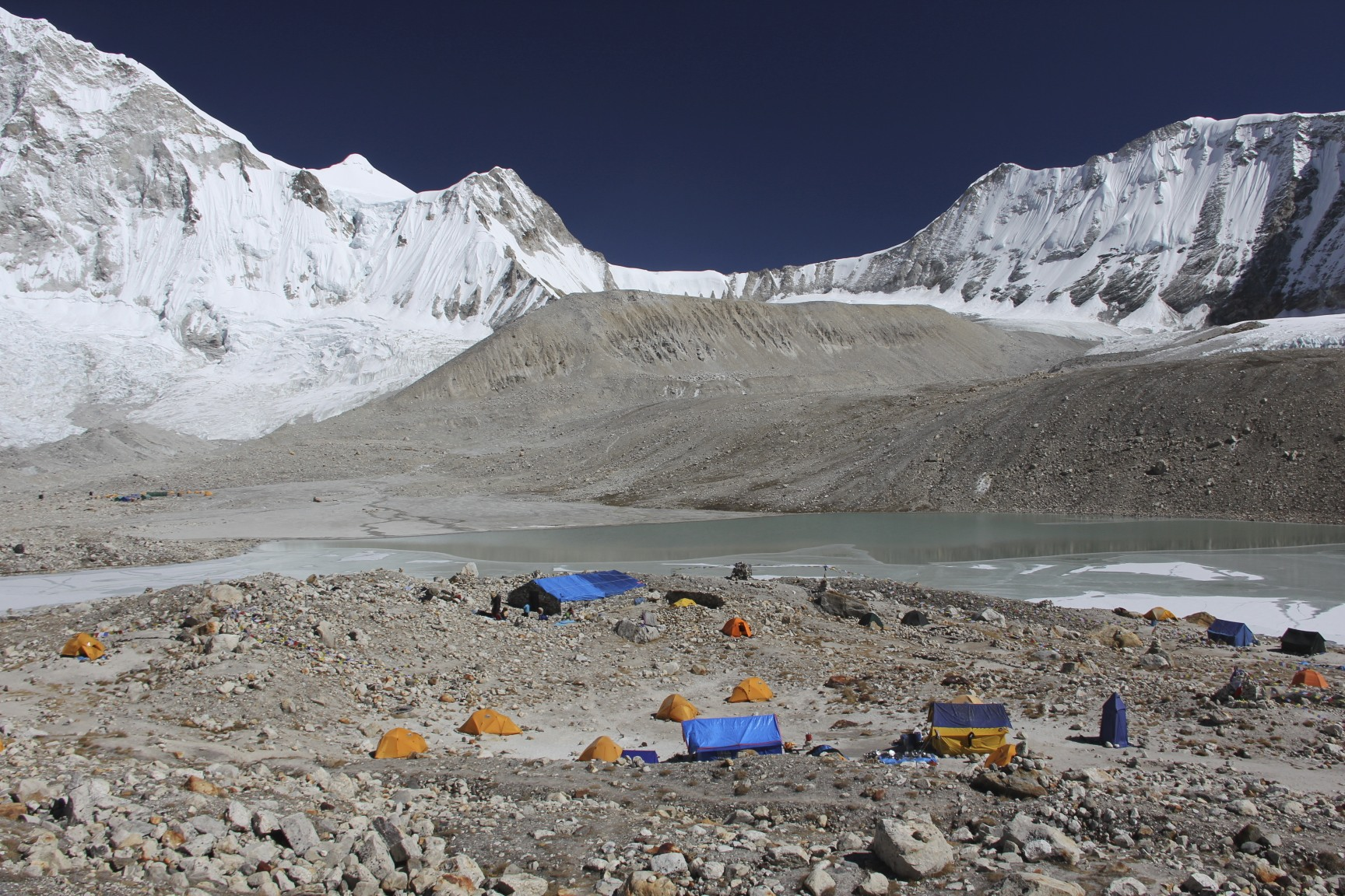 Baruntse basecamp at around 5,400m. The West Col is now far in the distance.