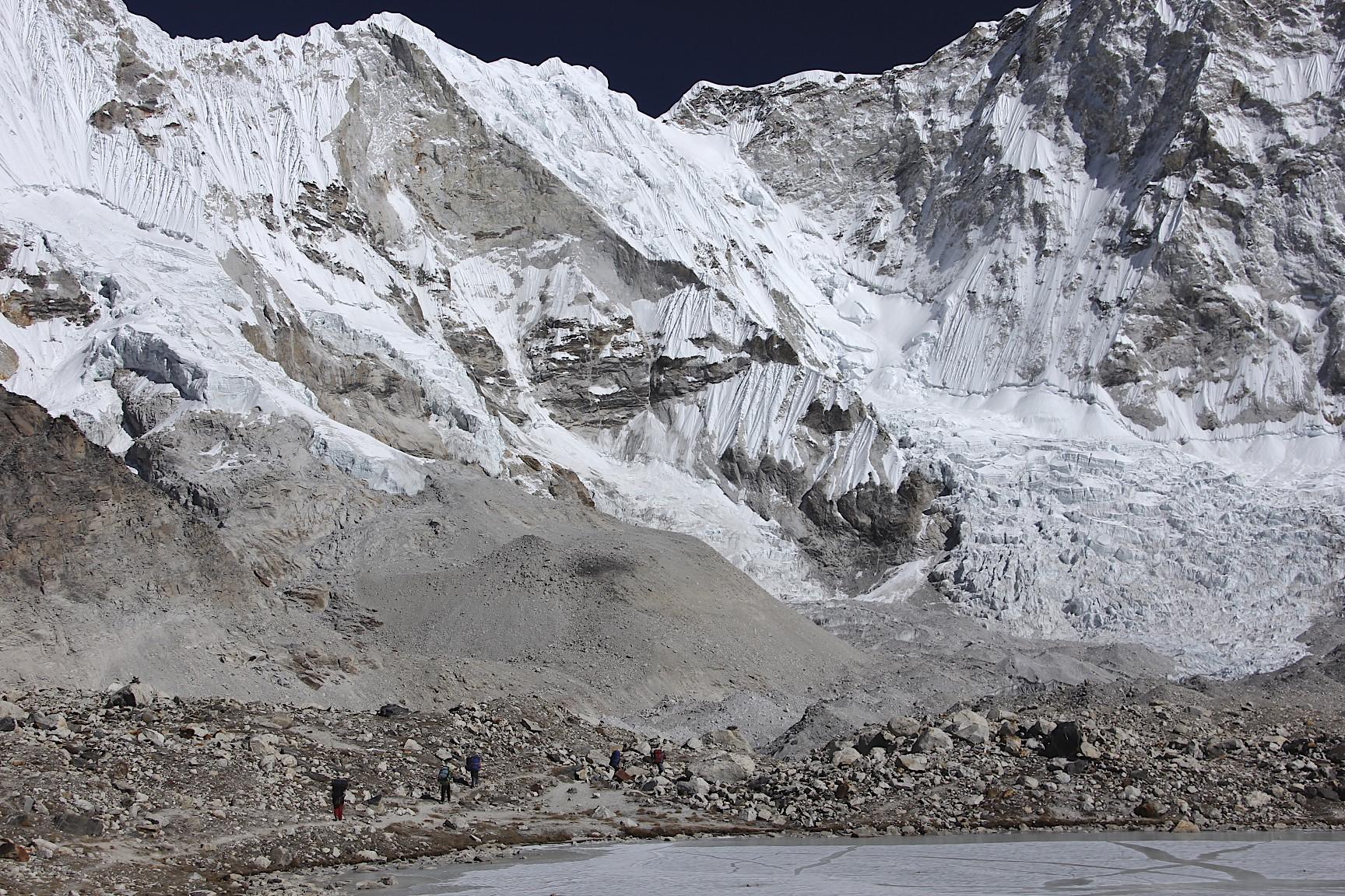 En route from Baruntse BC to Amphu Labtsa Pass camp. The wall of Mt. Baruntse.