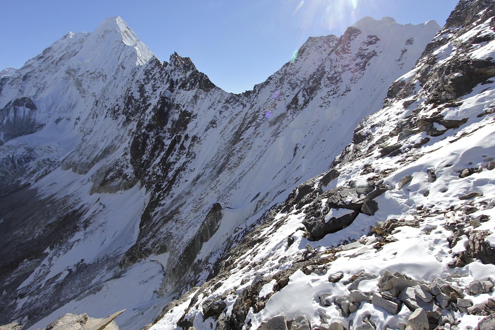 Looking down from Amphu Labtsa Pass, 5,900m.