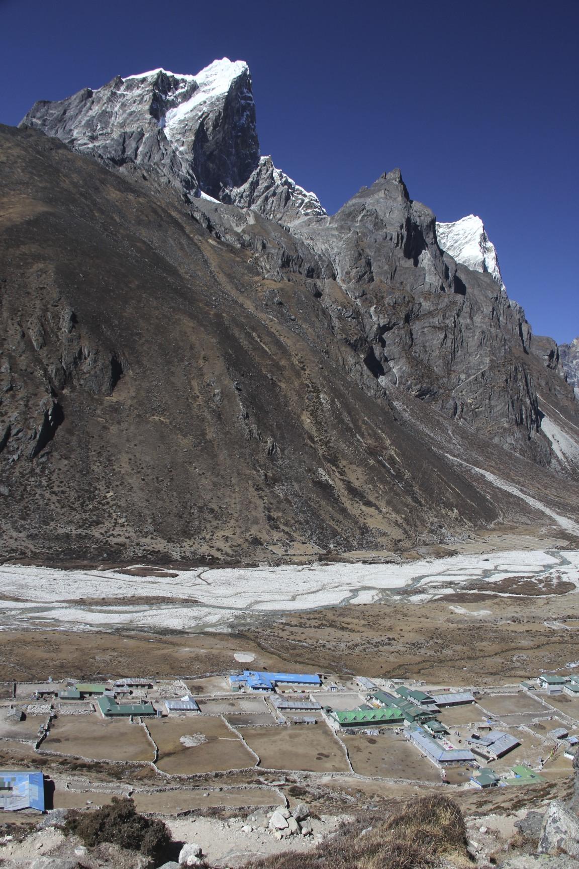 Pheriche village and Mt. Cholatse.