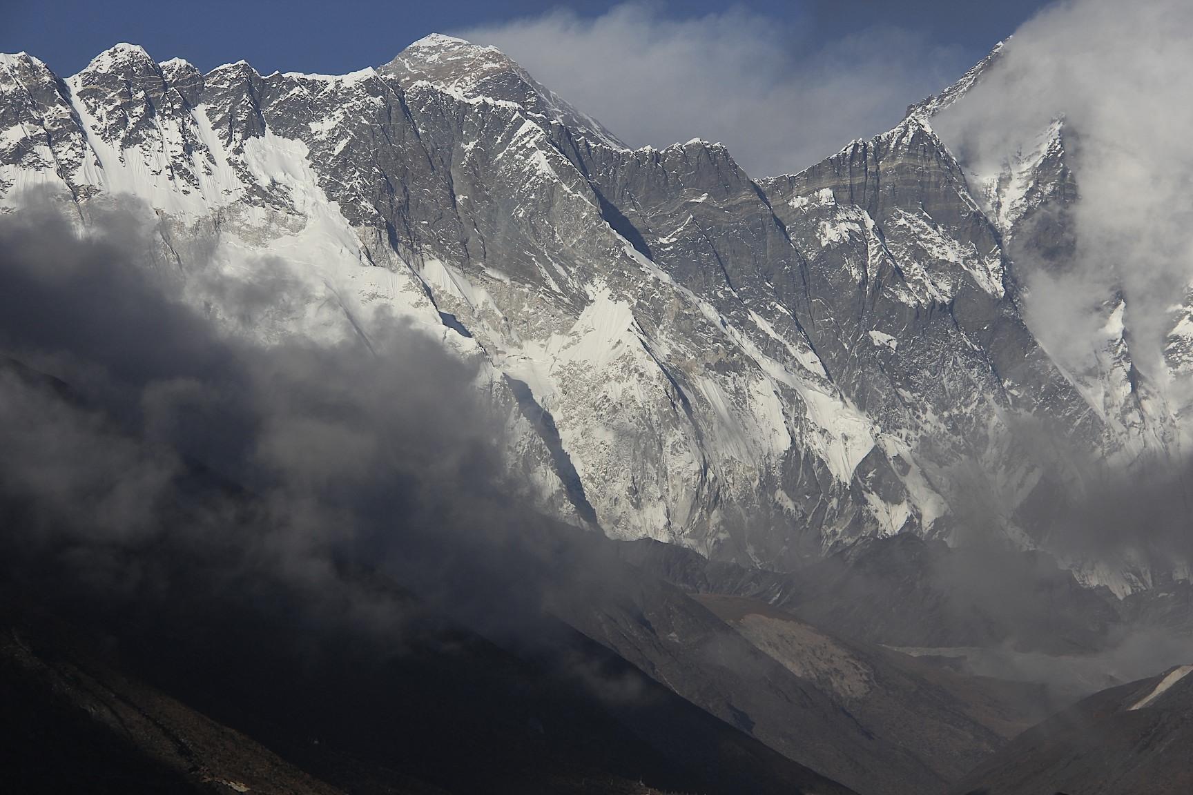Nuptse, Lhotse and Mt. Everest from Tangboche Monastery