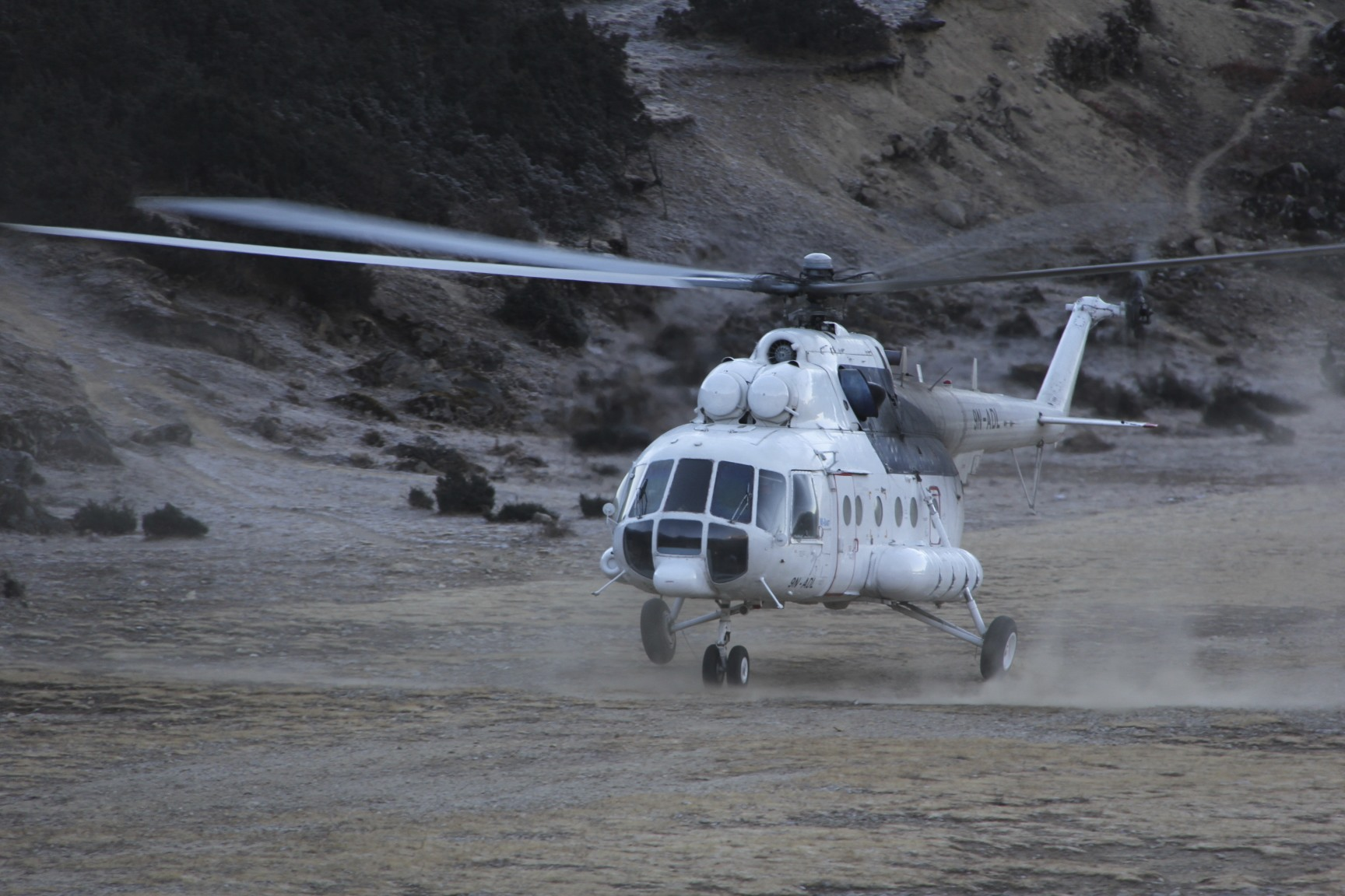 Quick way home! An old Soviet Mi 8 cargo helicopter. The pilots make extra cash by taking people to the road head from the Khumbu.