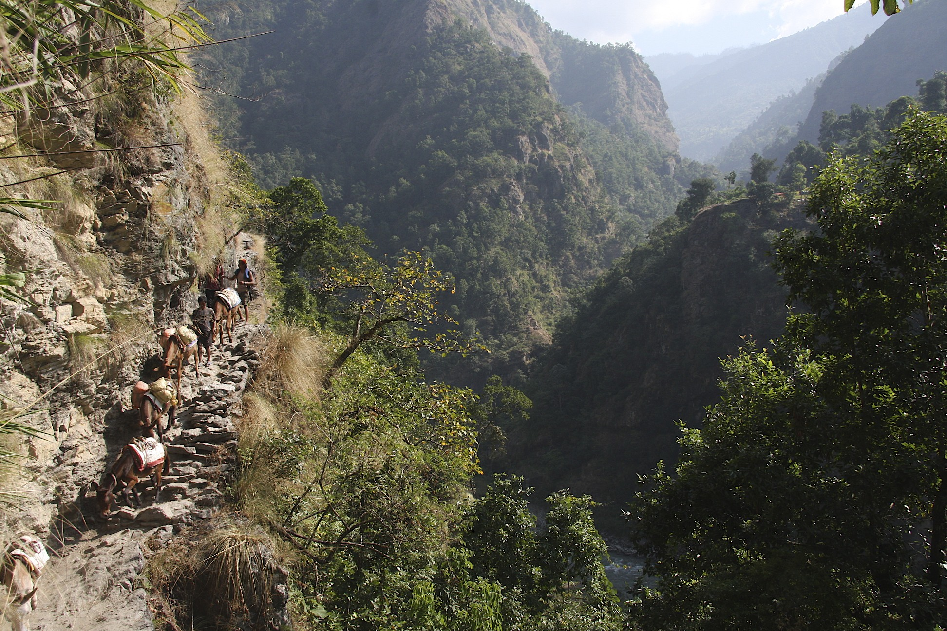 Walking up the steep trail in the Bhudi Gahandaki Valley.
