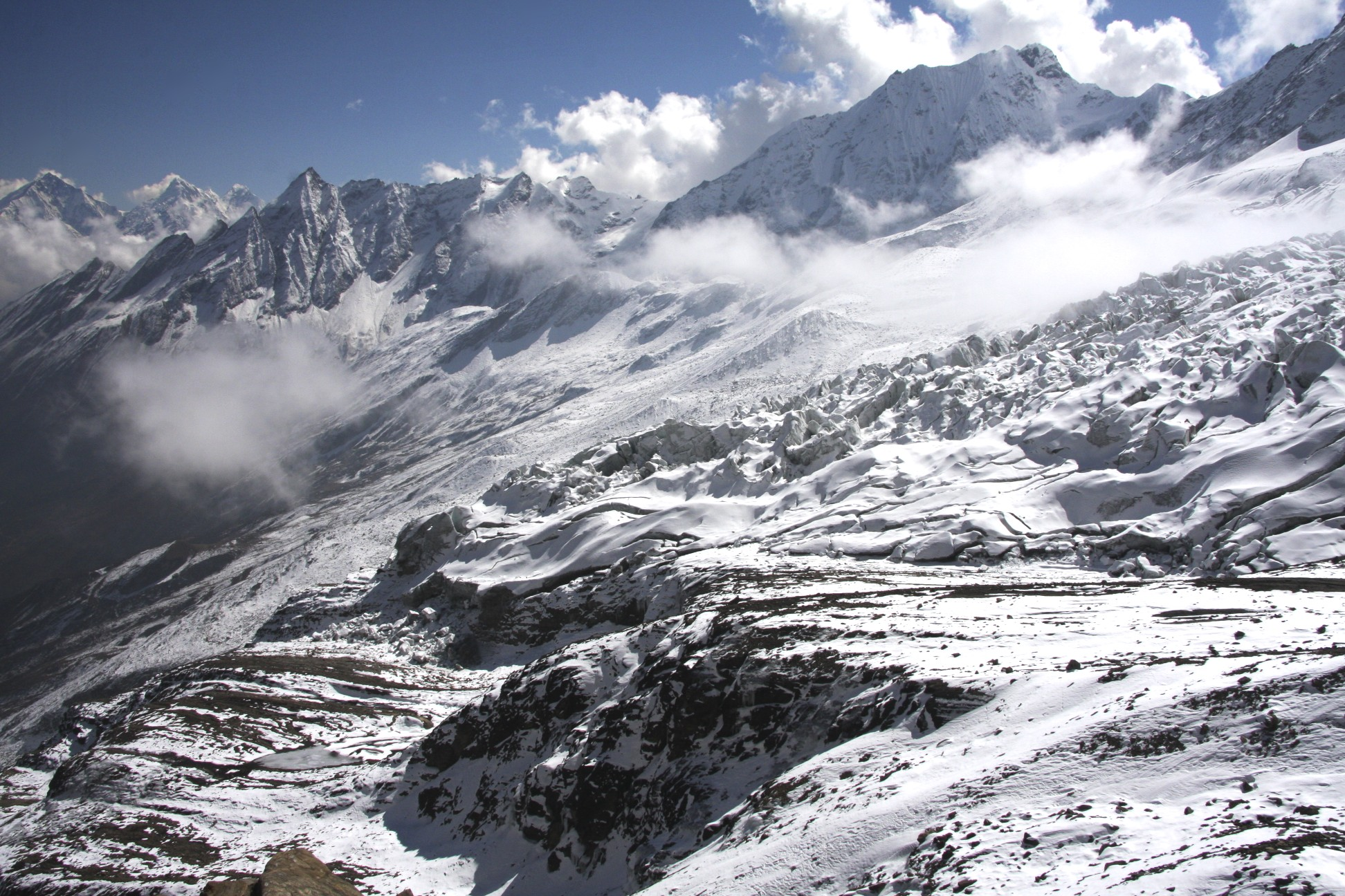 Lower slopes of Manaslu North