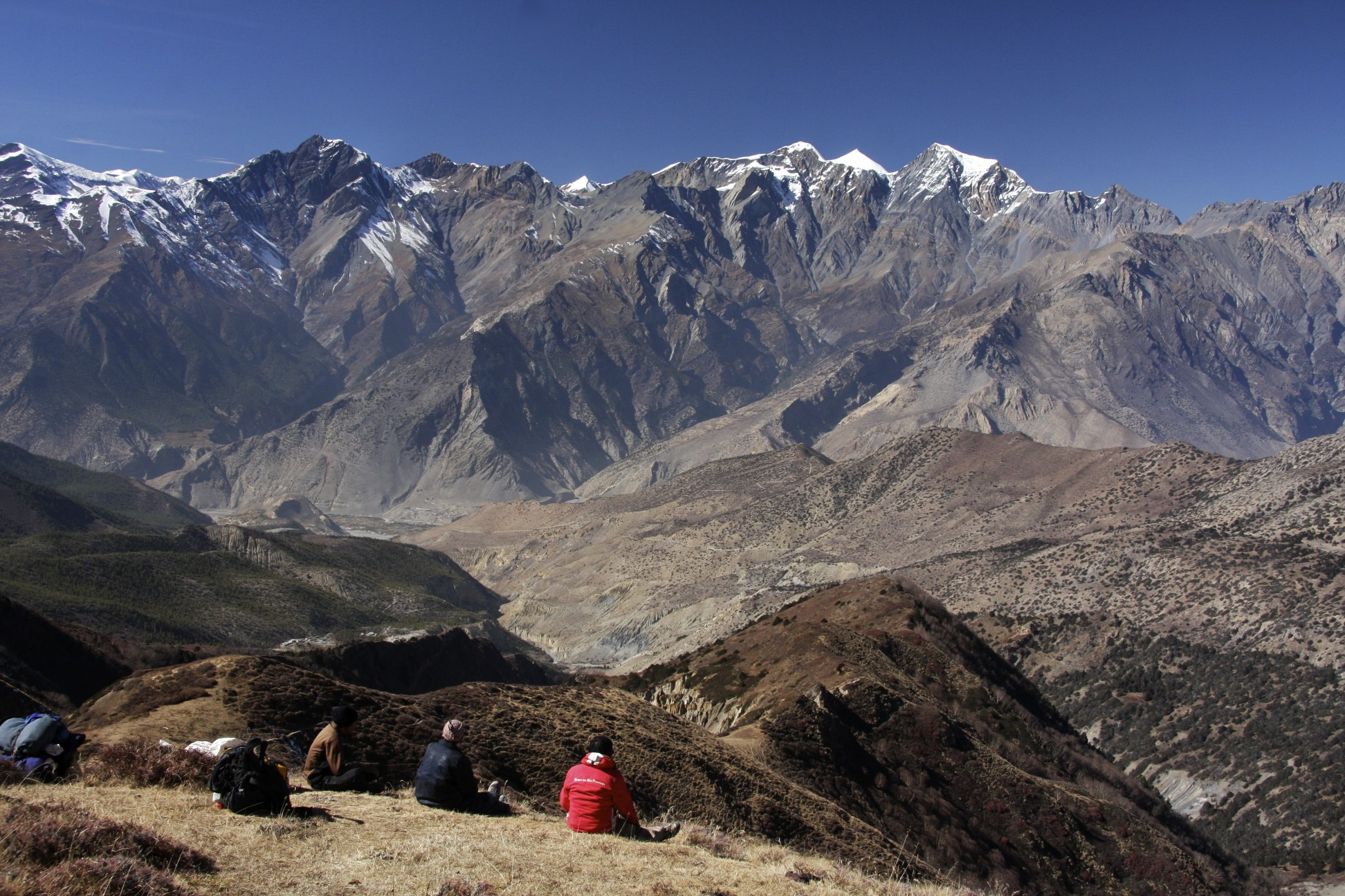 Looking across Kali Gandaki Valley with Jomsom below