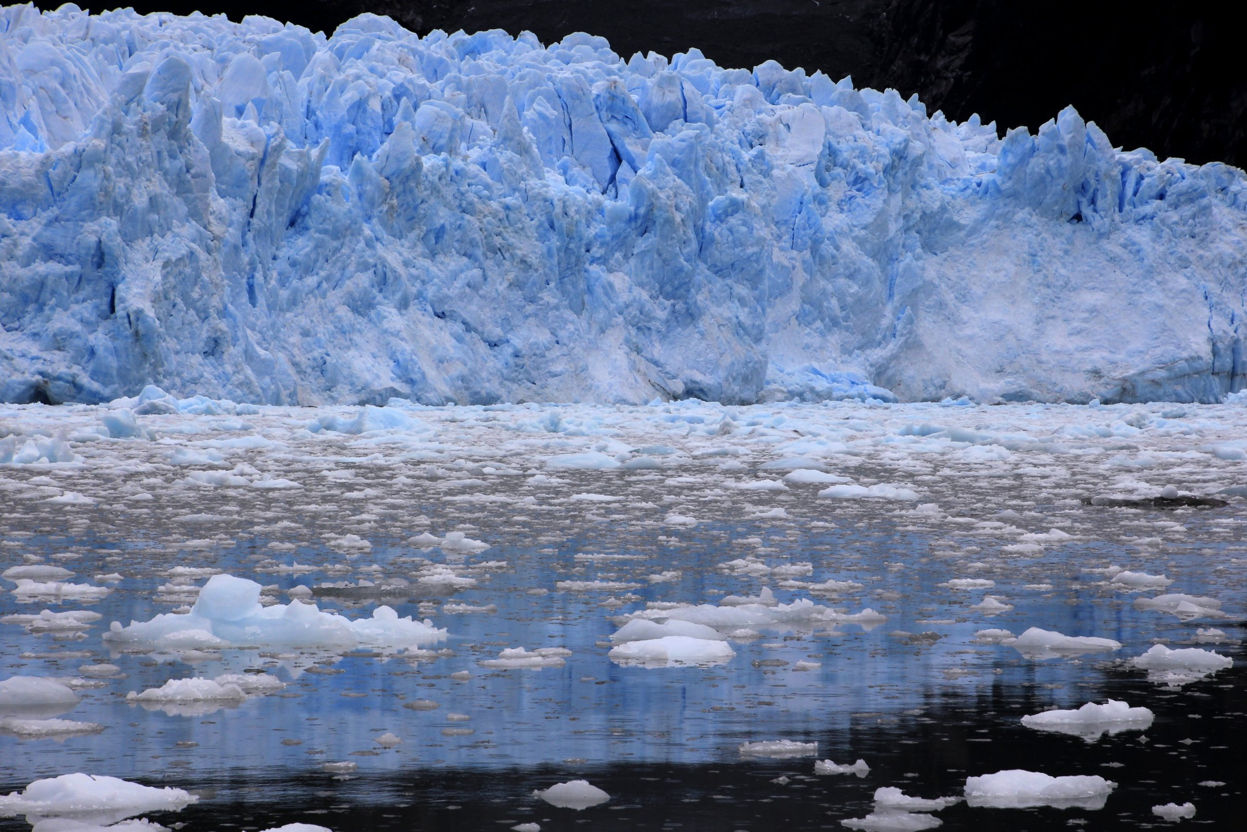 The spectacular glacier in one of the fjords of the Tierra del Fuego