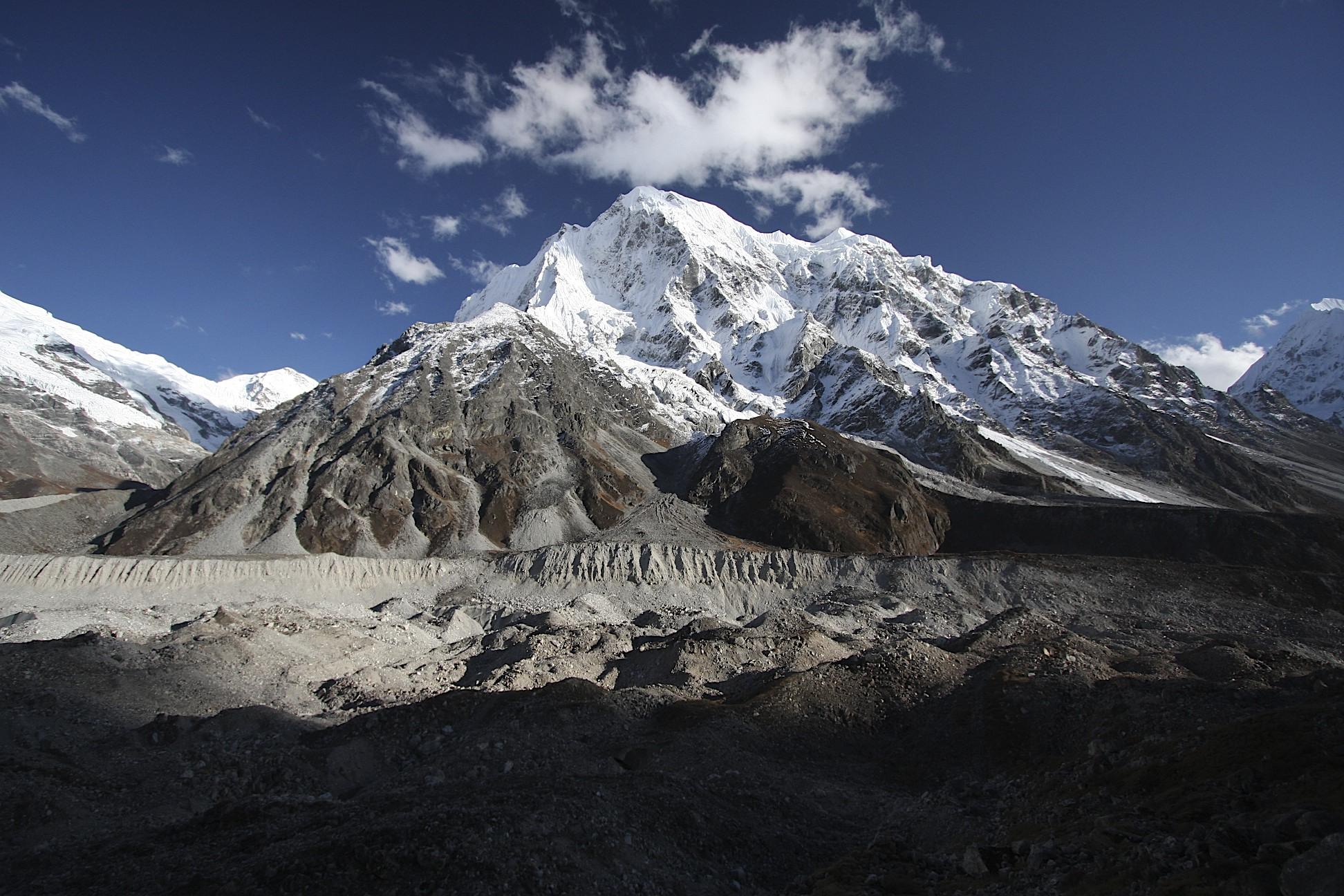 Langtang Glacier and Langshisa Ri Mountain.