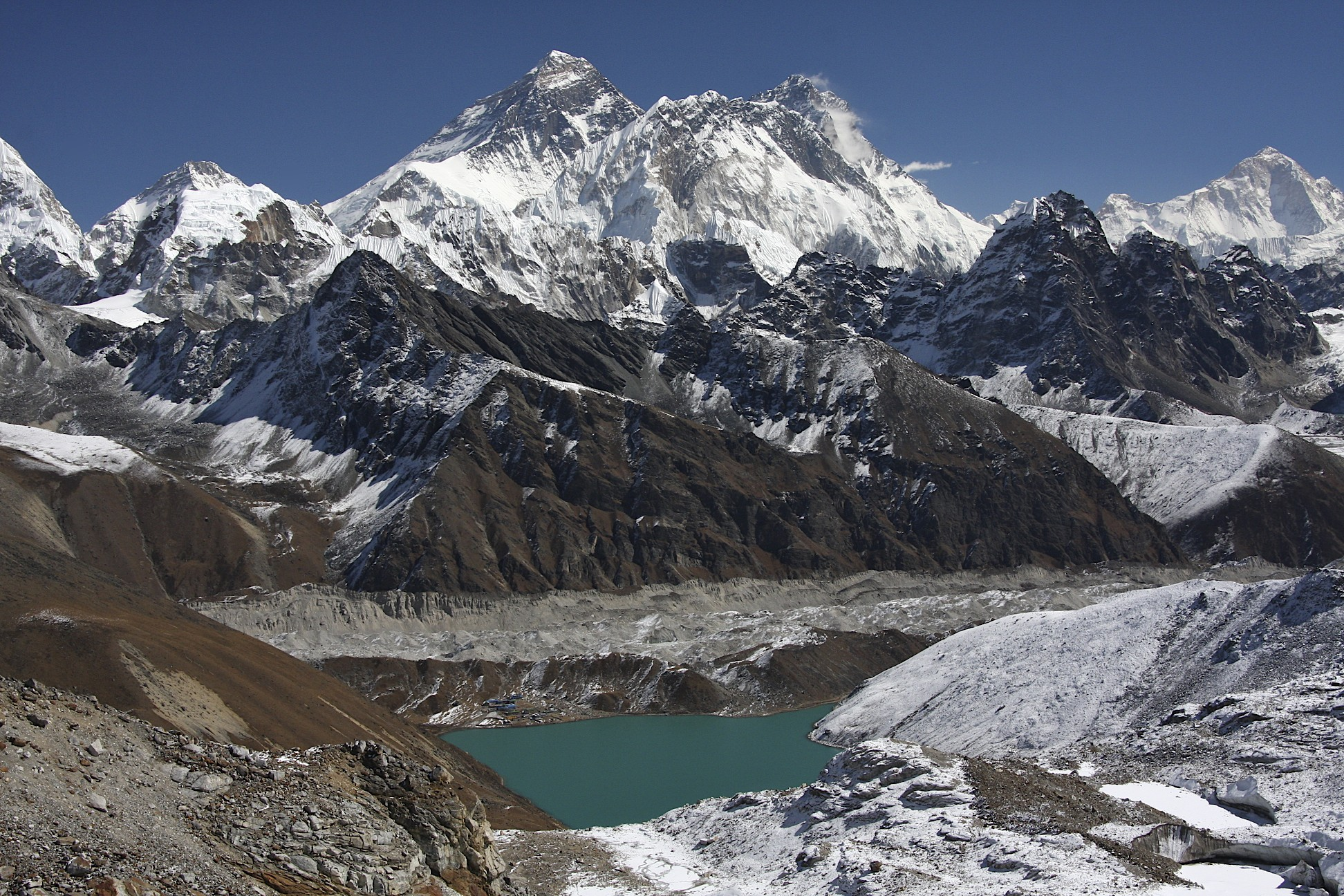 The magnificent panorama from the Renjo La Pass.  Mt. Everest, Nuptse and Lhotse dominate the view.  On the right, far in the distance is Mt. Makalu.