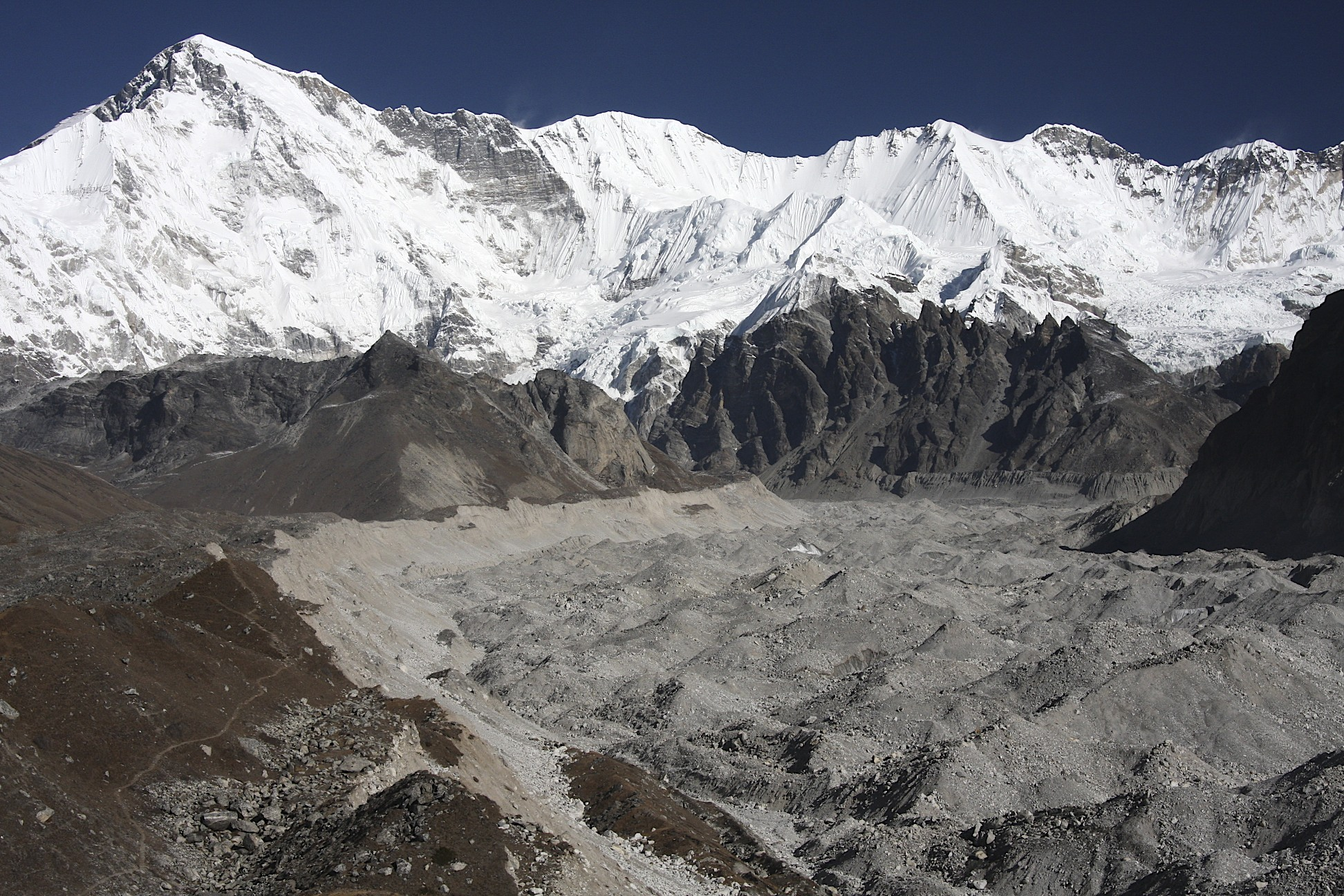 Cho Oyu and upper Ngozumpa Glacier, the longest glacier in Nepal