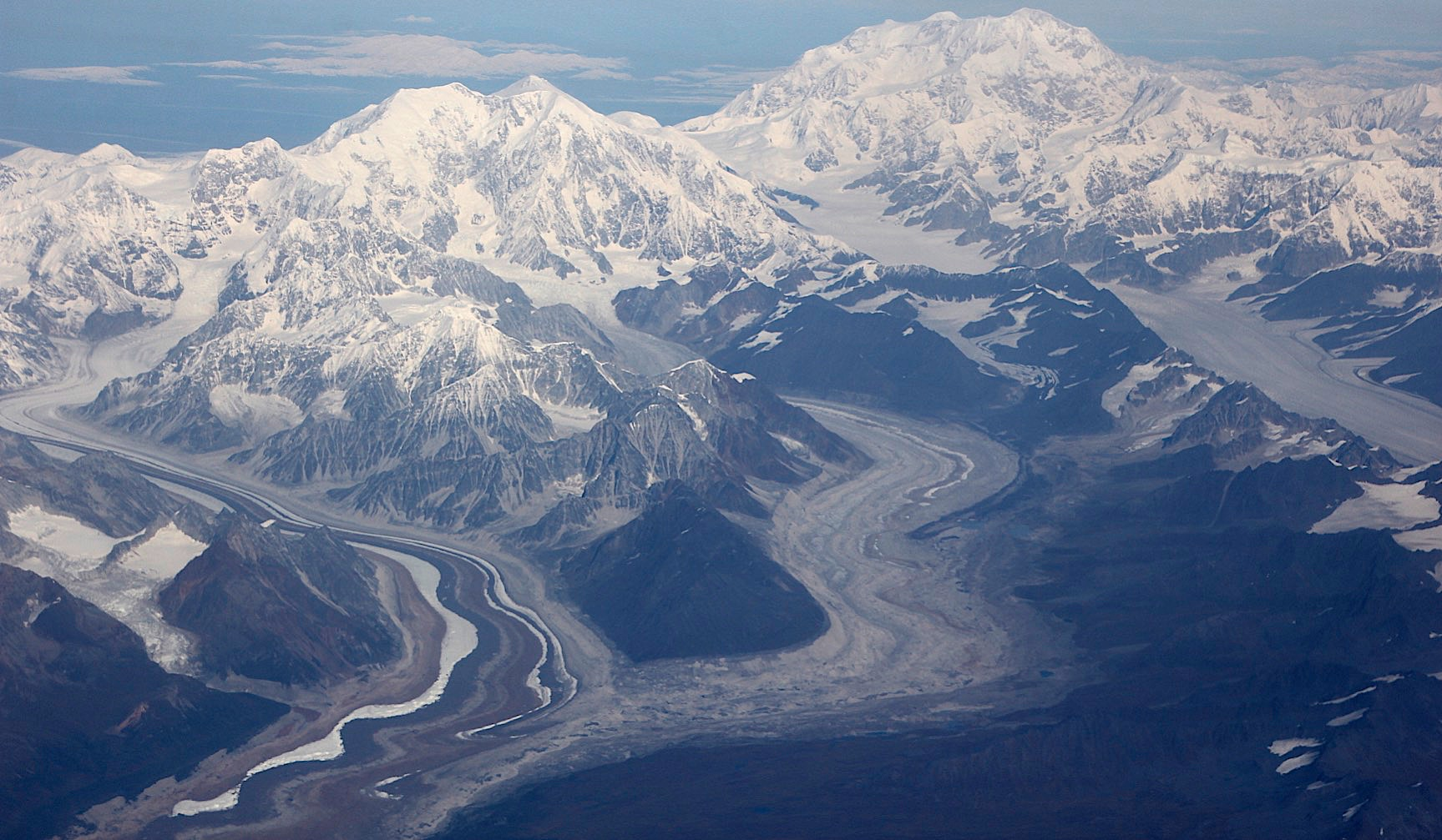 from R to L: Mt. Foraker 17,400 ft and Denali 20,320 ft