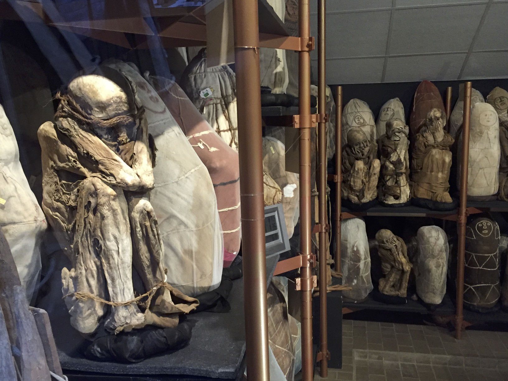 Mummies at the Museum of Leymebamba in a climate controlled room.