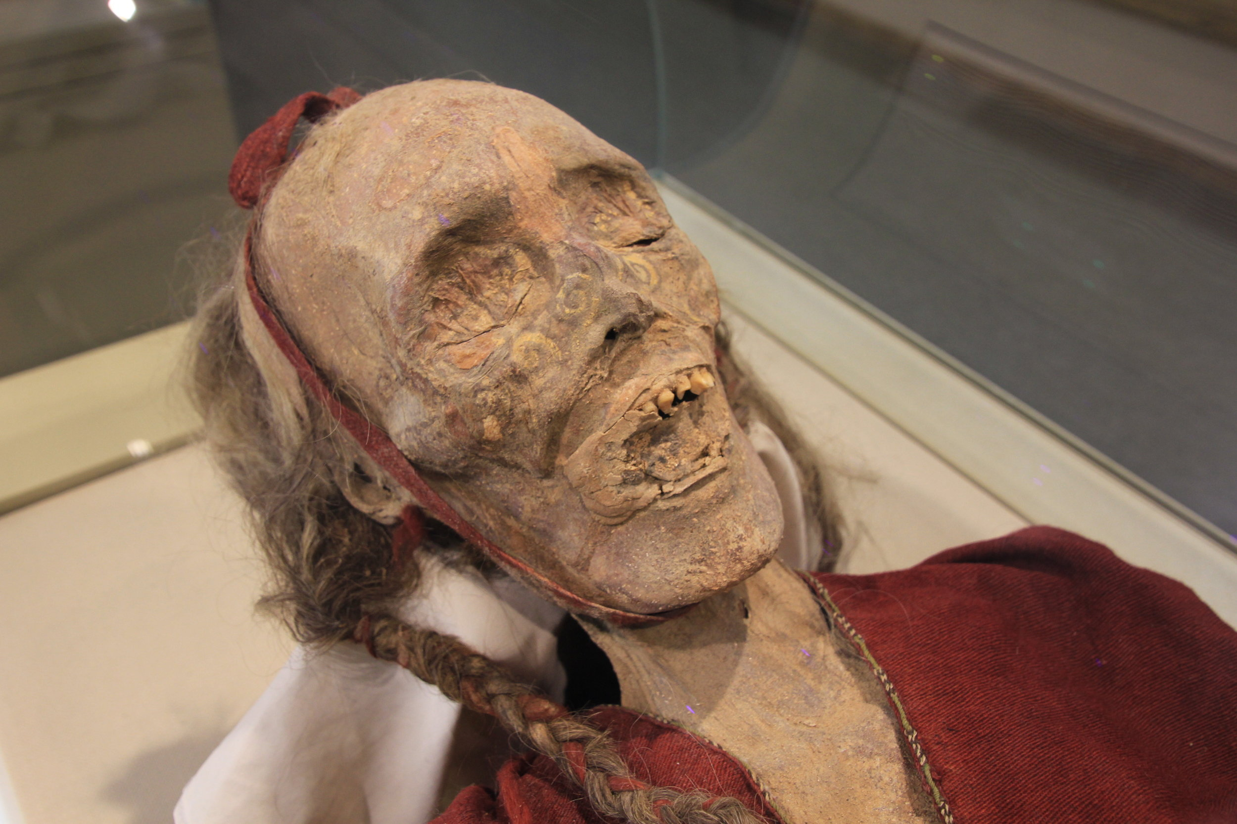 Many of the mummies have been found in very good condition, owing to the dryness of the desert and the desiccation it produced in the corpses. The mummies share many typical Caucasian body features (elongated bodies, angular faces, recessed eyes), and many of them have their hair physically intact, ranging in color from blond to red to deep brown