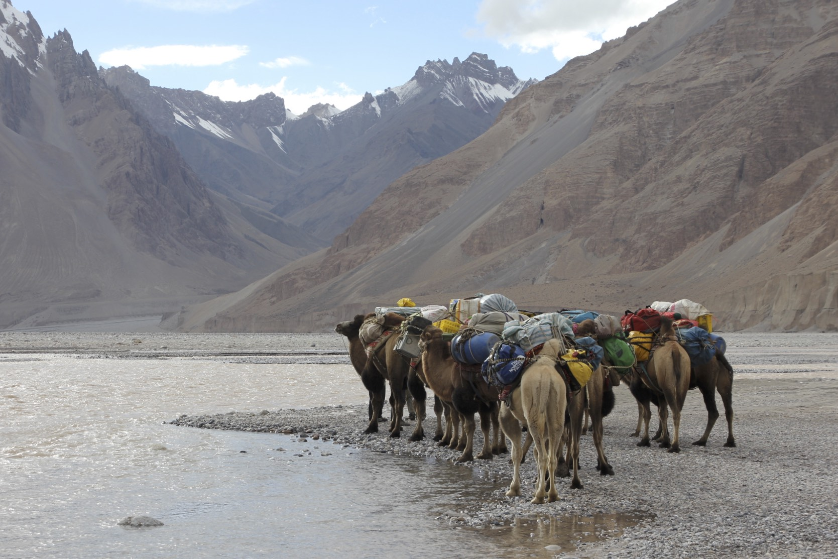 Preparing to cross the Shakgskam River